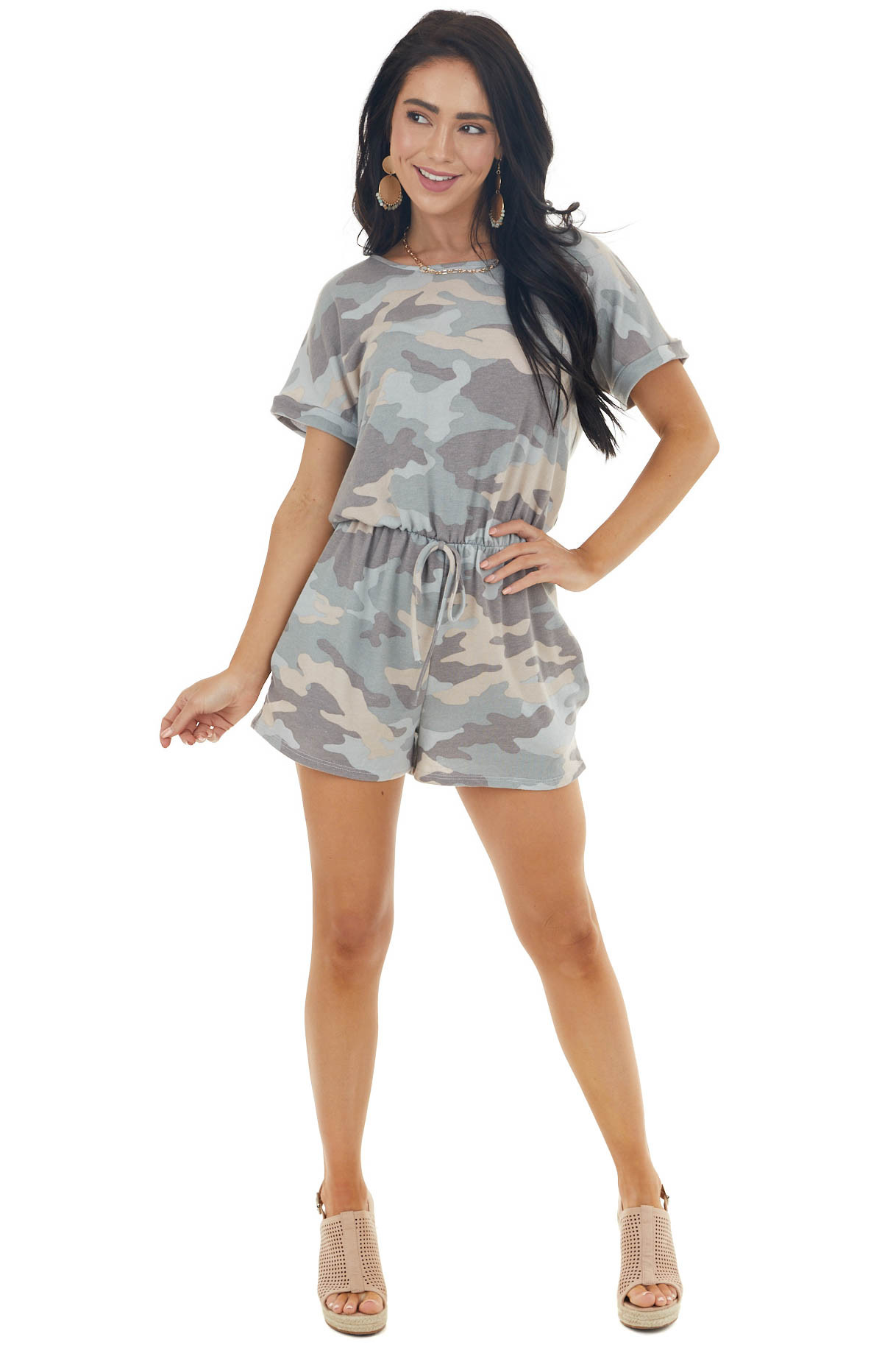 Ash Grey Camo Print Short Sleeve Knit Romper with Tie Detail