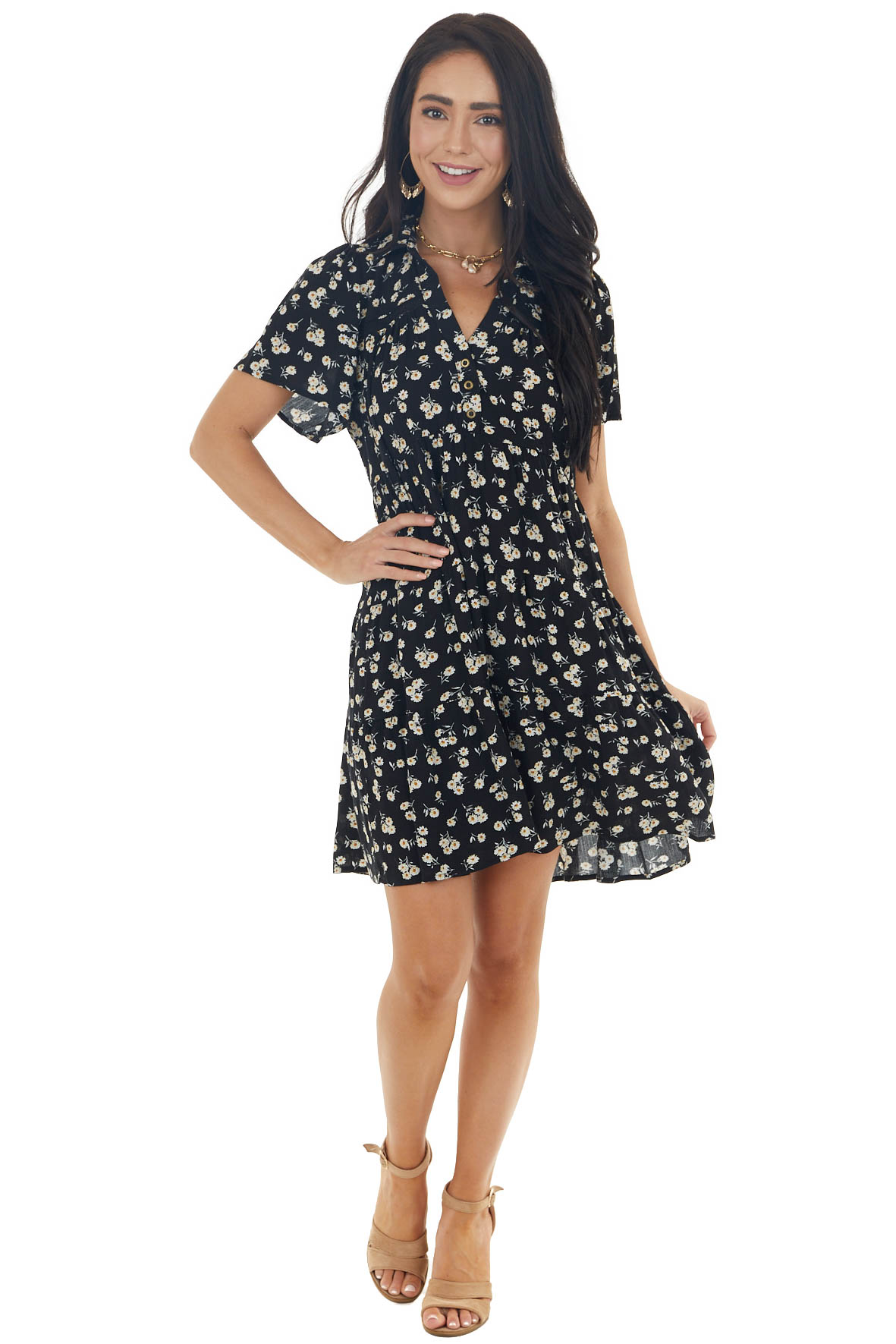 Black Ditsy Floral Tiered Babydoll Short Dress with Collar