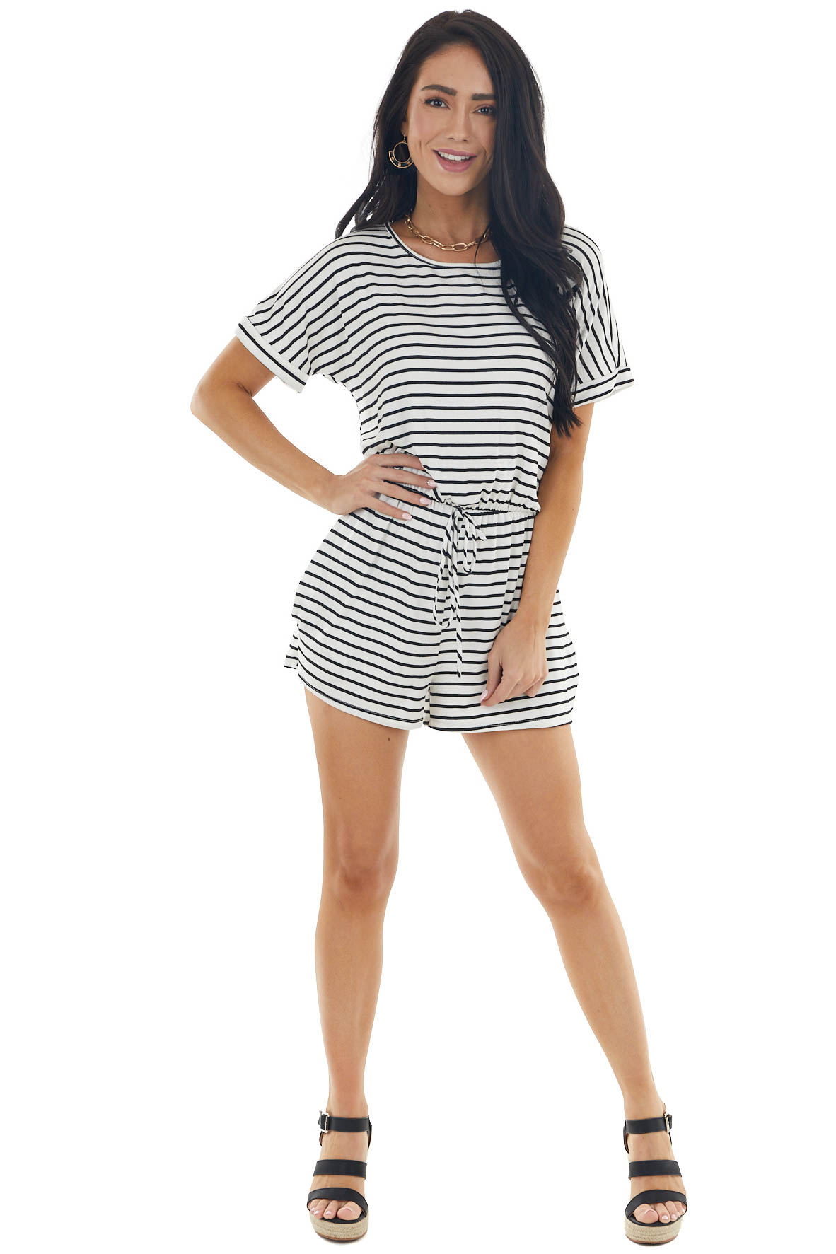 Black Striped Short Sleeve Knit Romper with Tie Detail