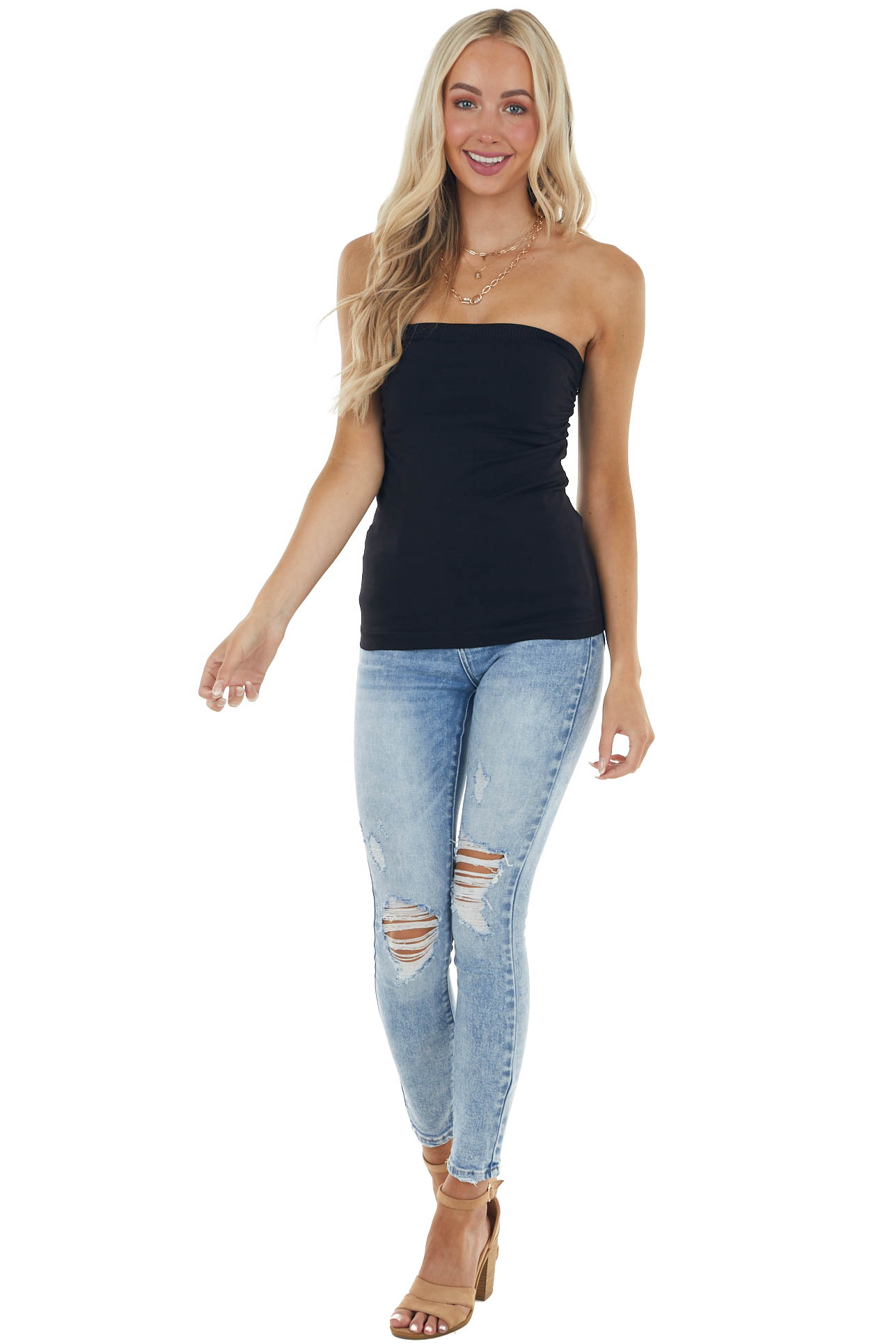 Black Ruched Tube Top