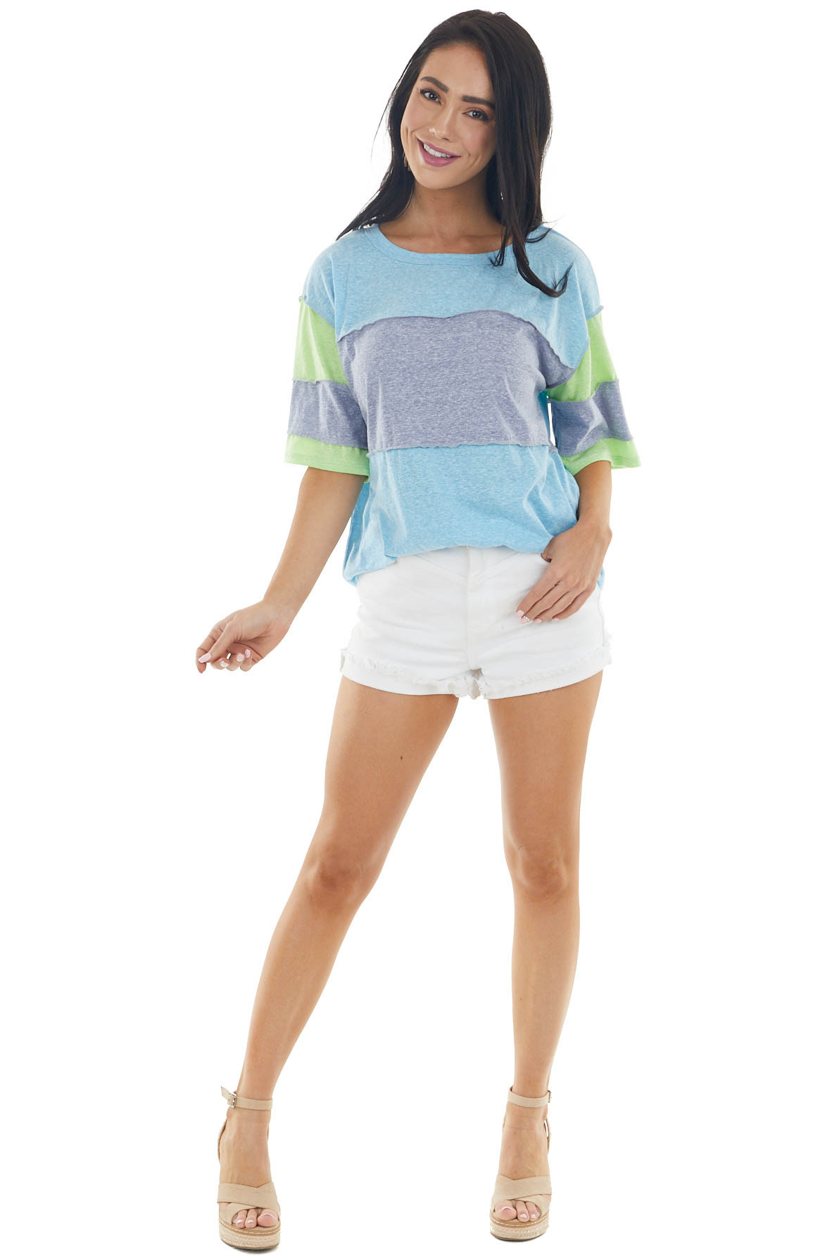 Sky Blue Colorblock Short Sleeve Top with Reverse Stitching