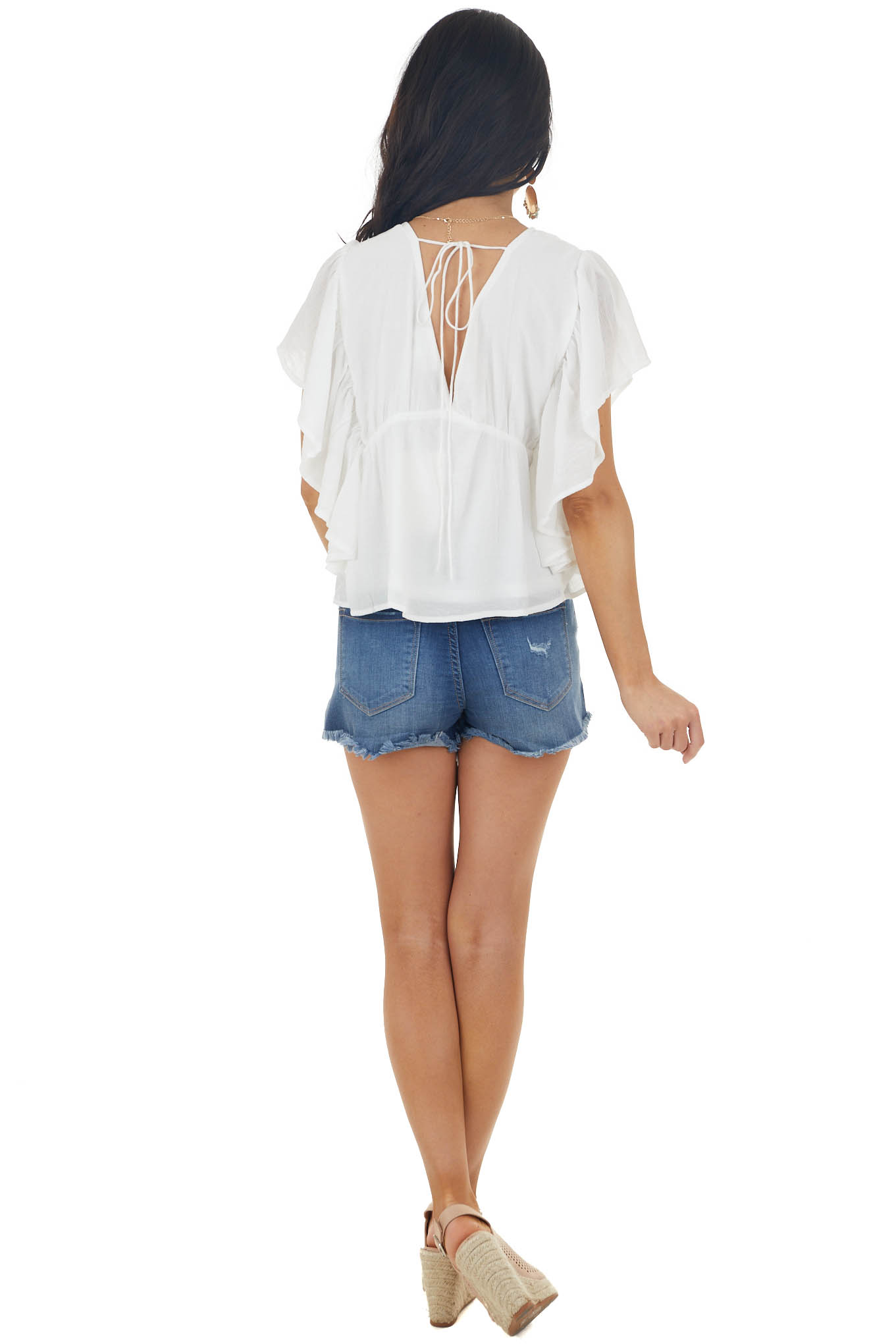 Off White Deep V neck Flutter Sleeved Babydoll Blouse