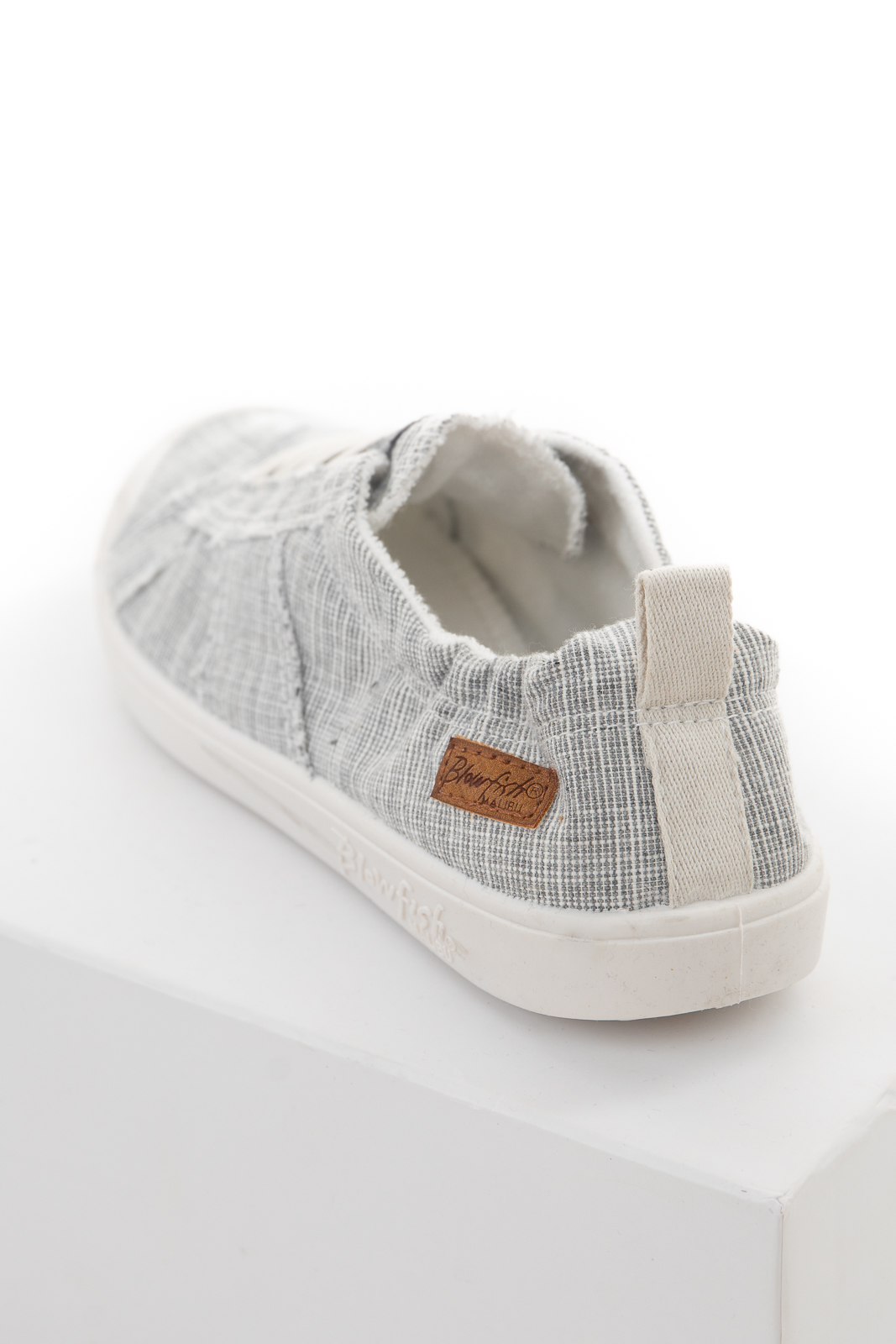 Stone and White Two Tone Fabric Sneakers with Elastic Laces