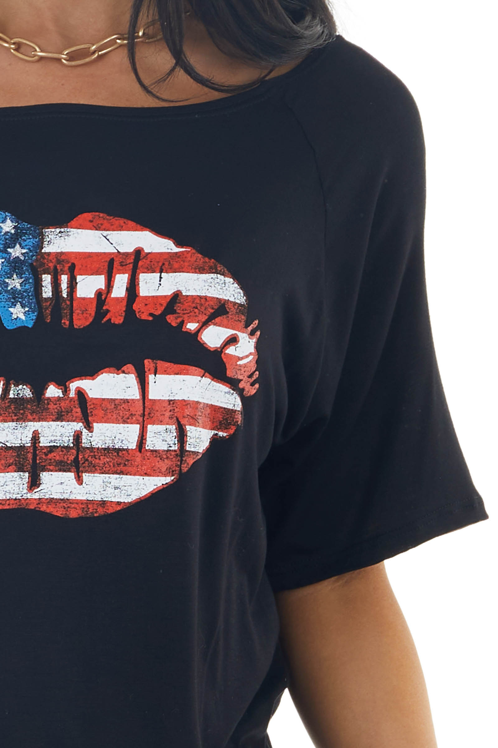 Black Short Sleeve Patriotic Lip Graphic Top with Boat Neck