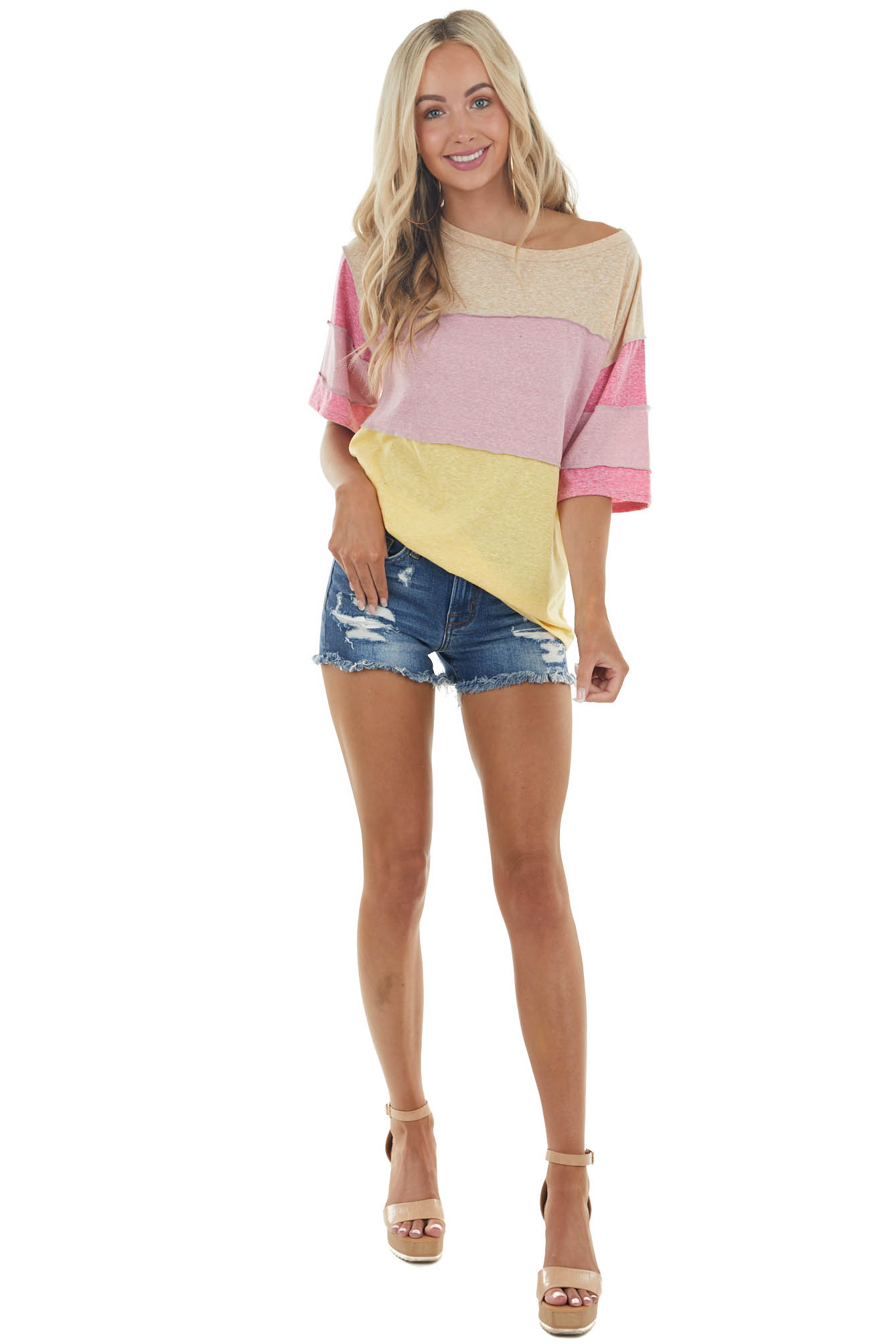 Banana Colorblock Short Sleeve Top with Reverse Stitching