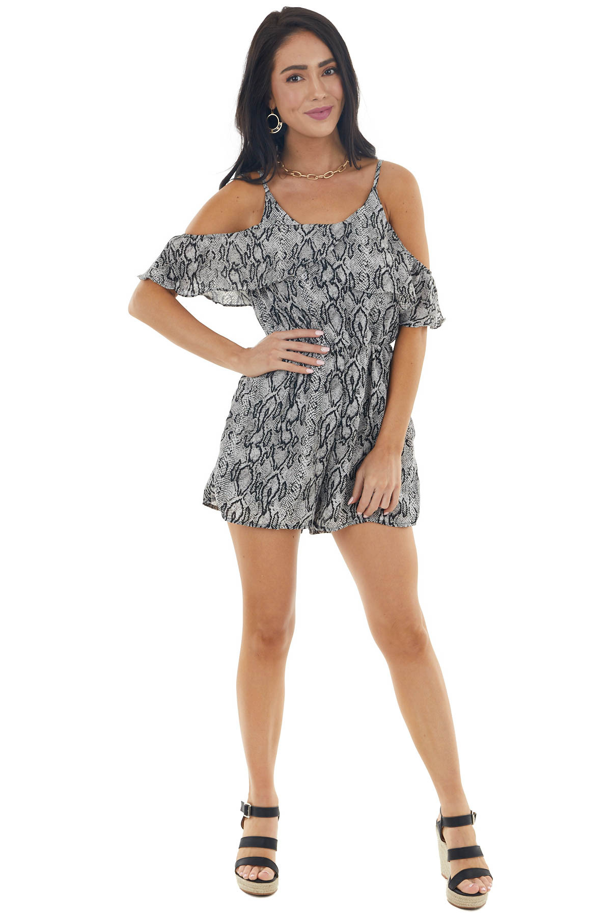 Black Snakeskin Cold Shoulder Romper with Cinch Waist