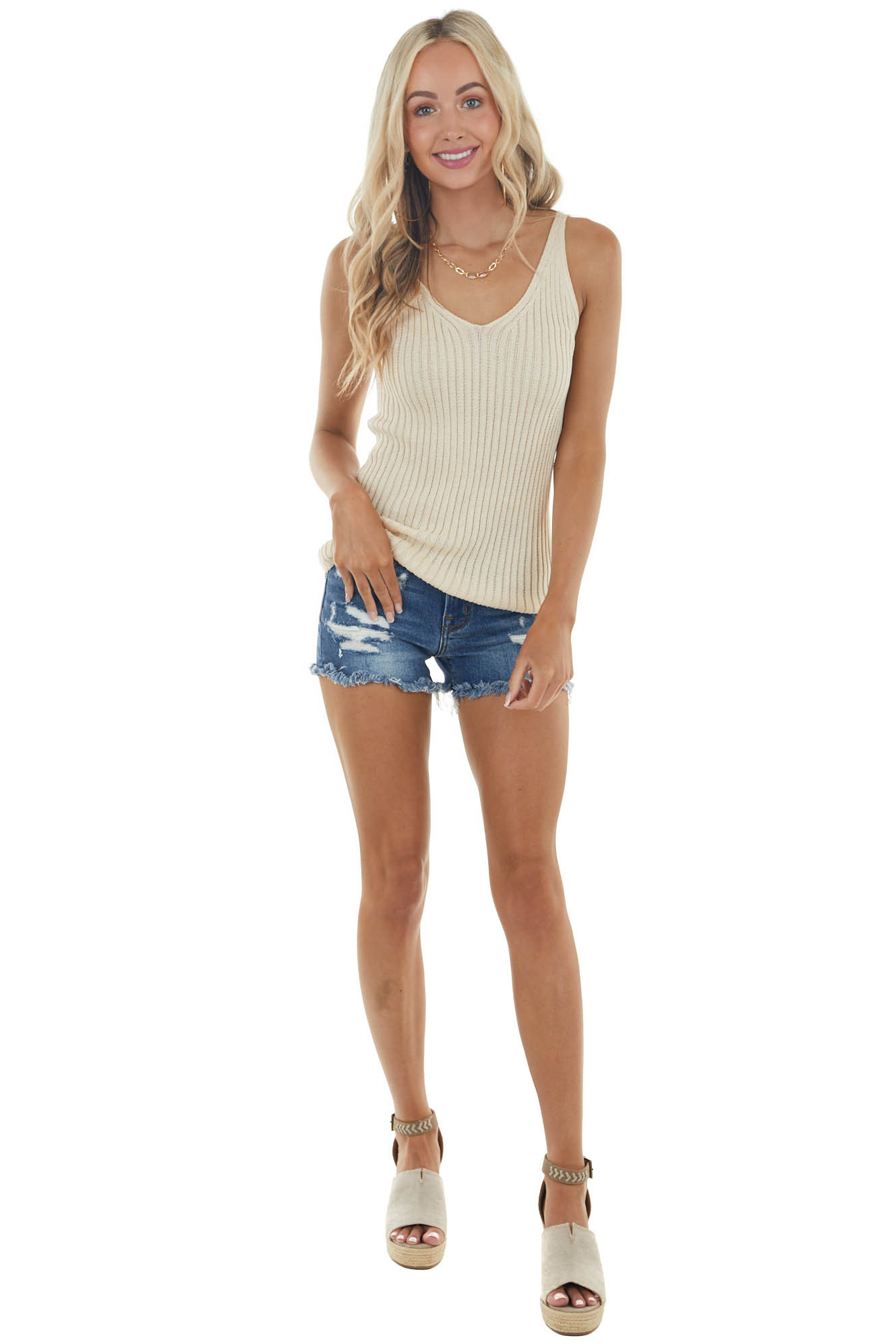 Taupe Lightweight Stretchy Ribbed Knit V Neck Tank Top
