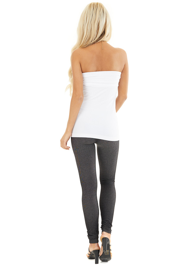 White Ruched Tube Top back full body