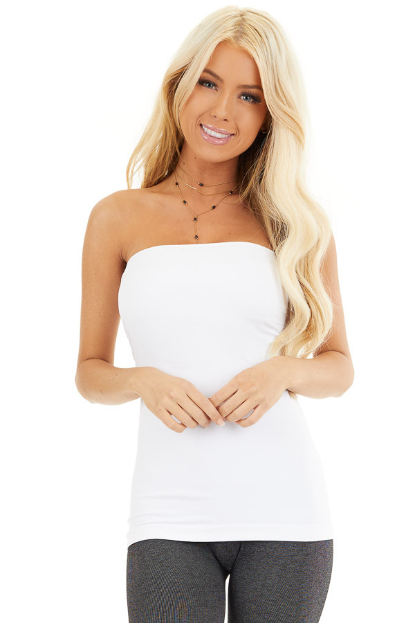 White Ruched Tube Top front close up