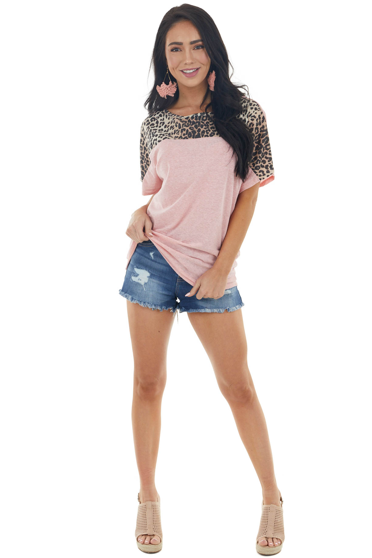 Heathered Bubblegum Short Sleeve Top with Leopard Contrast
