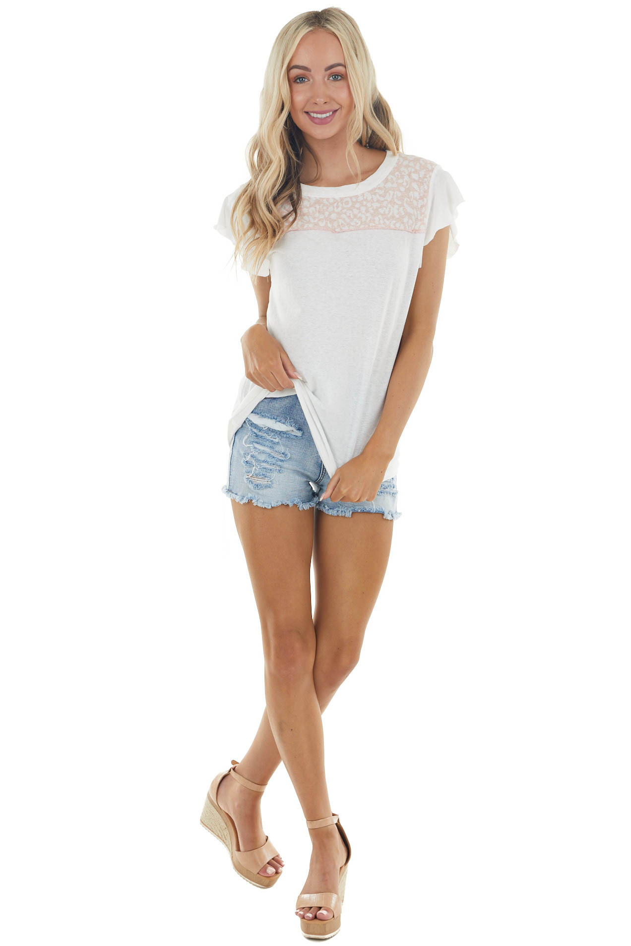 Ivory Short Flutter Sleeve Top with Leopard Print Contrast