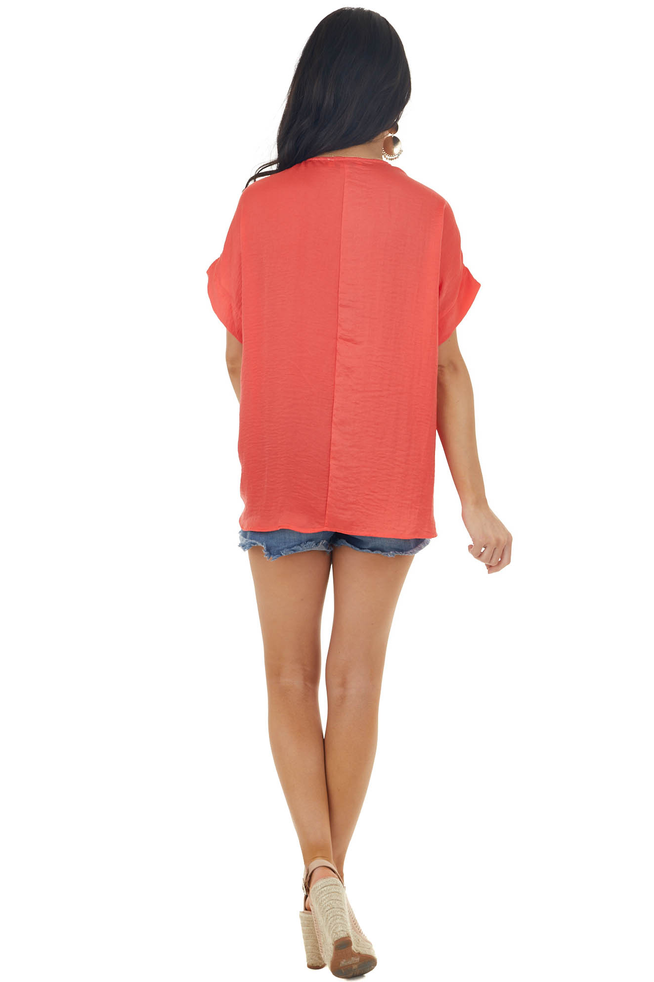 Lipstick Red Silky Short Sleeve Woven Blouse with V Neckline
