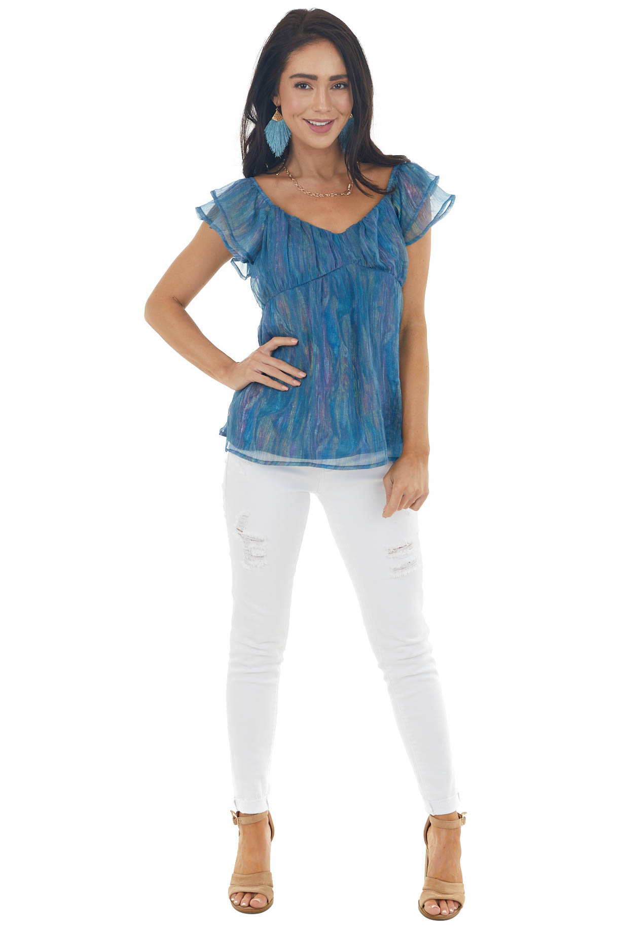 Ocean Blue Iridescent Babydoll Blouse with Flutter Sleeves