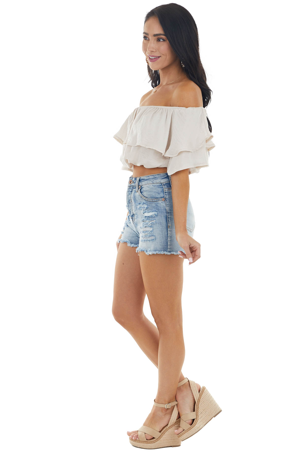 Champagne Off the Shoulder Short Sleeve Overlaying Crop Top
