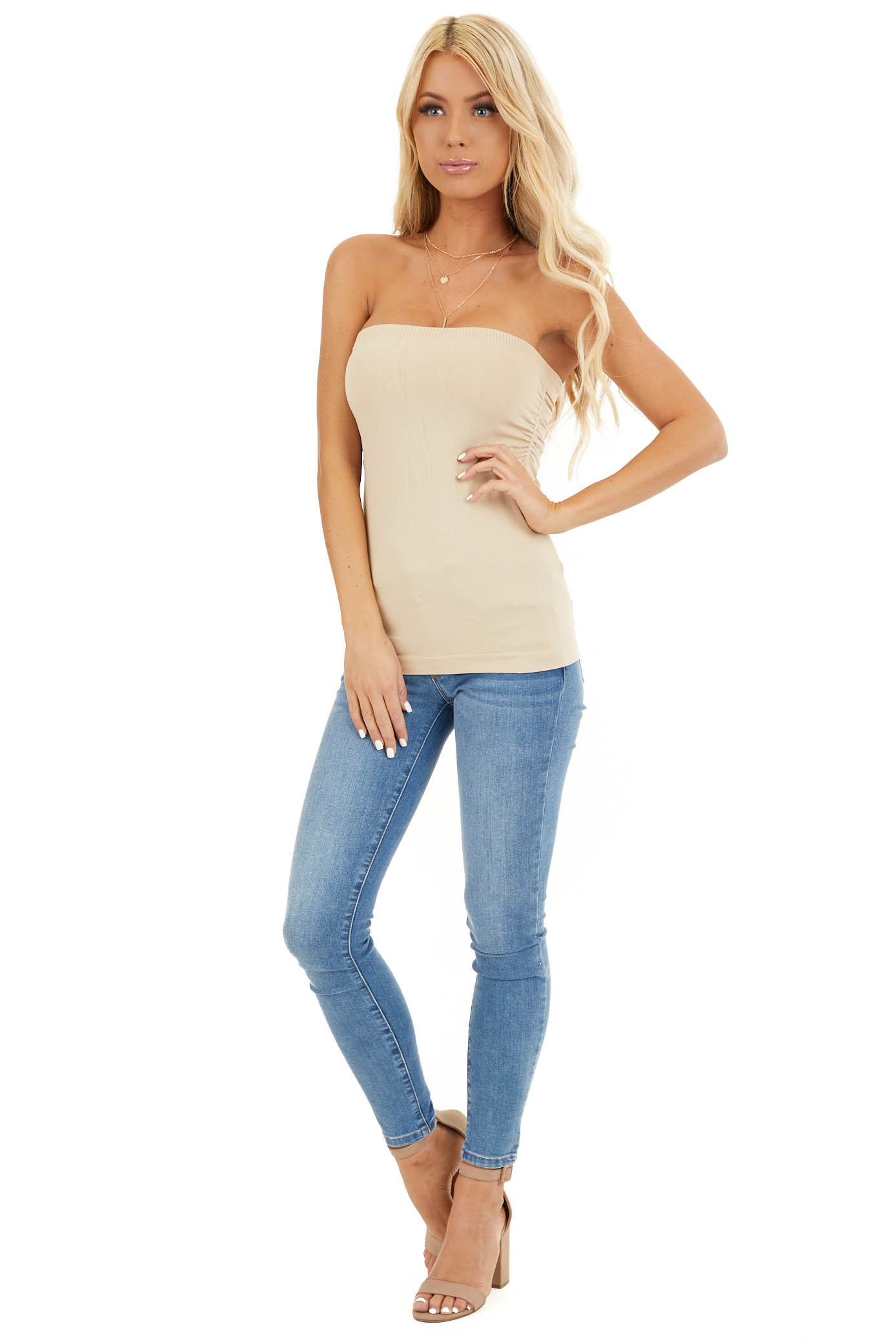 Stone Ruched Tube Top front full body
