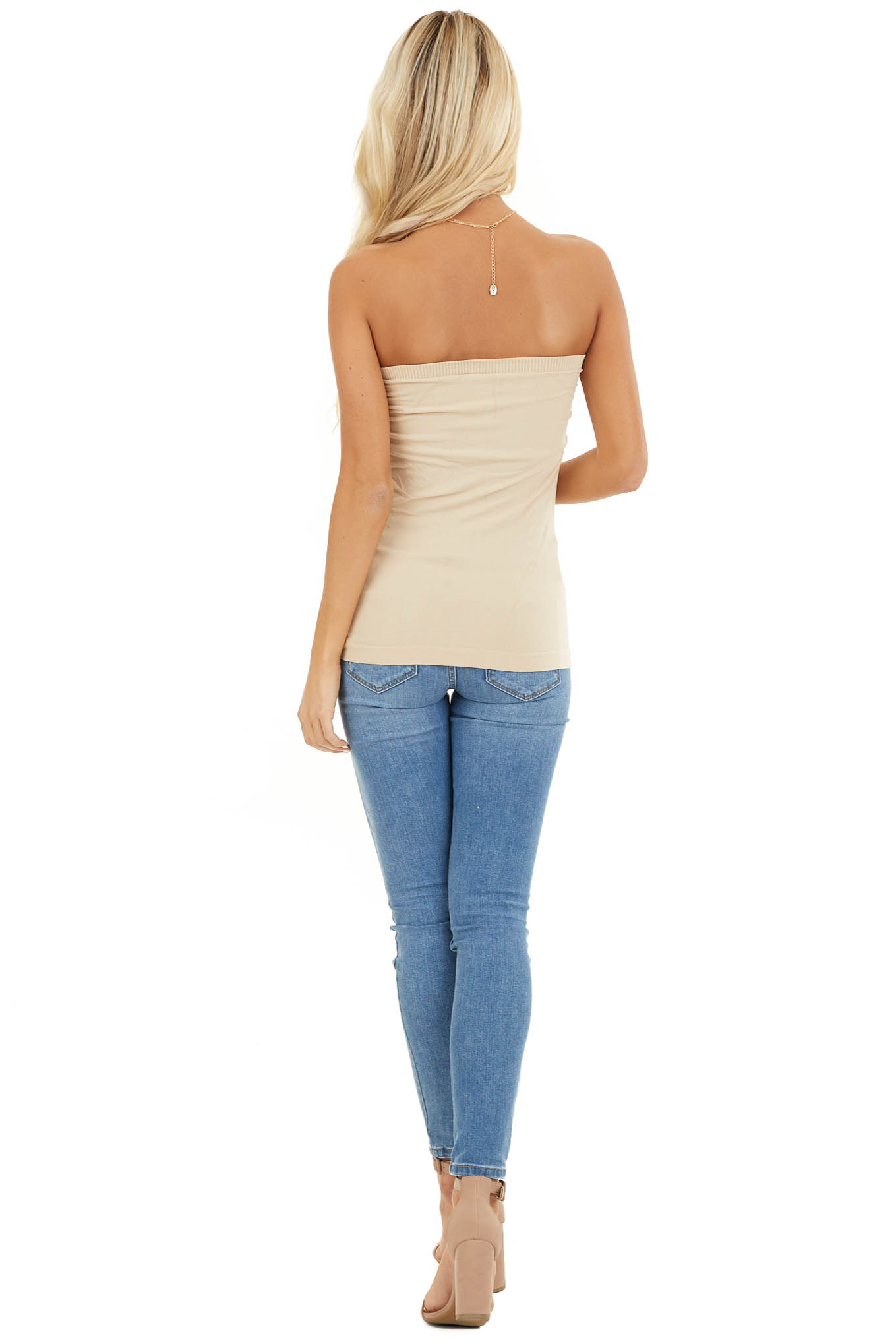 Stone Ruched Tube Top back full body