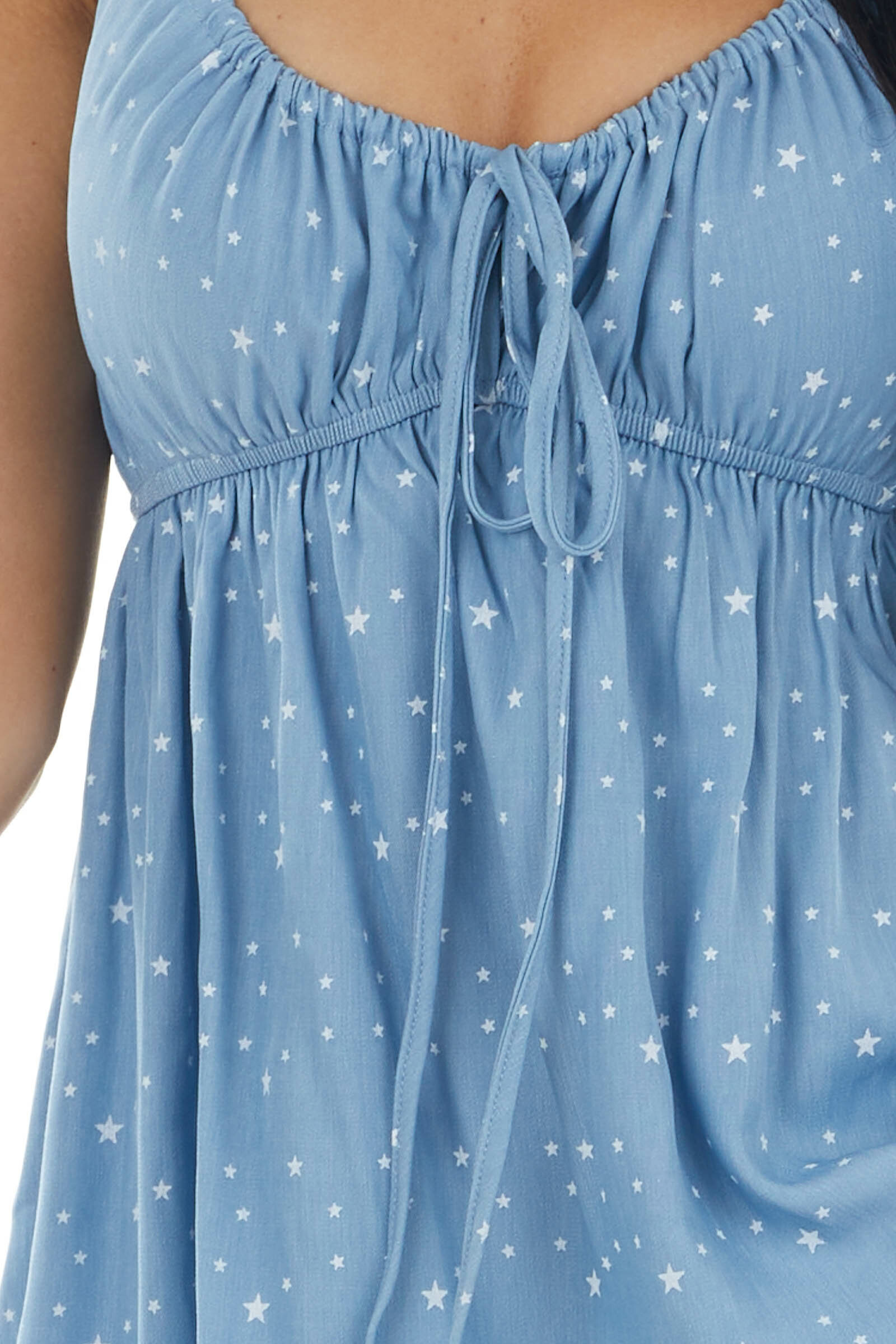 Cornflower Star Print Babydoll Woven Cami with Front Tie