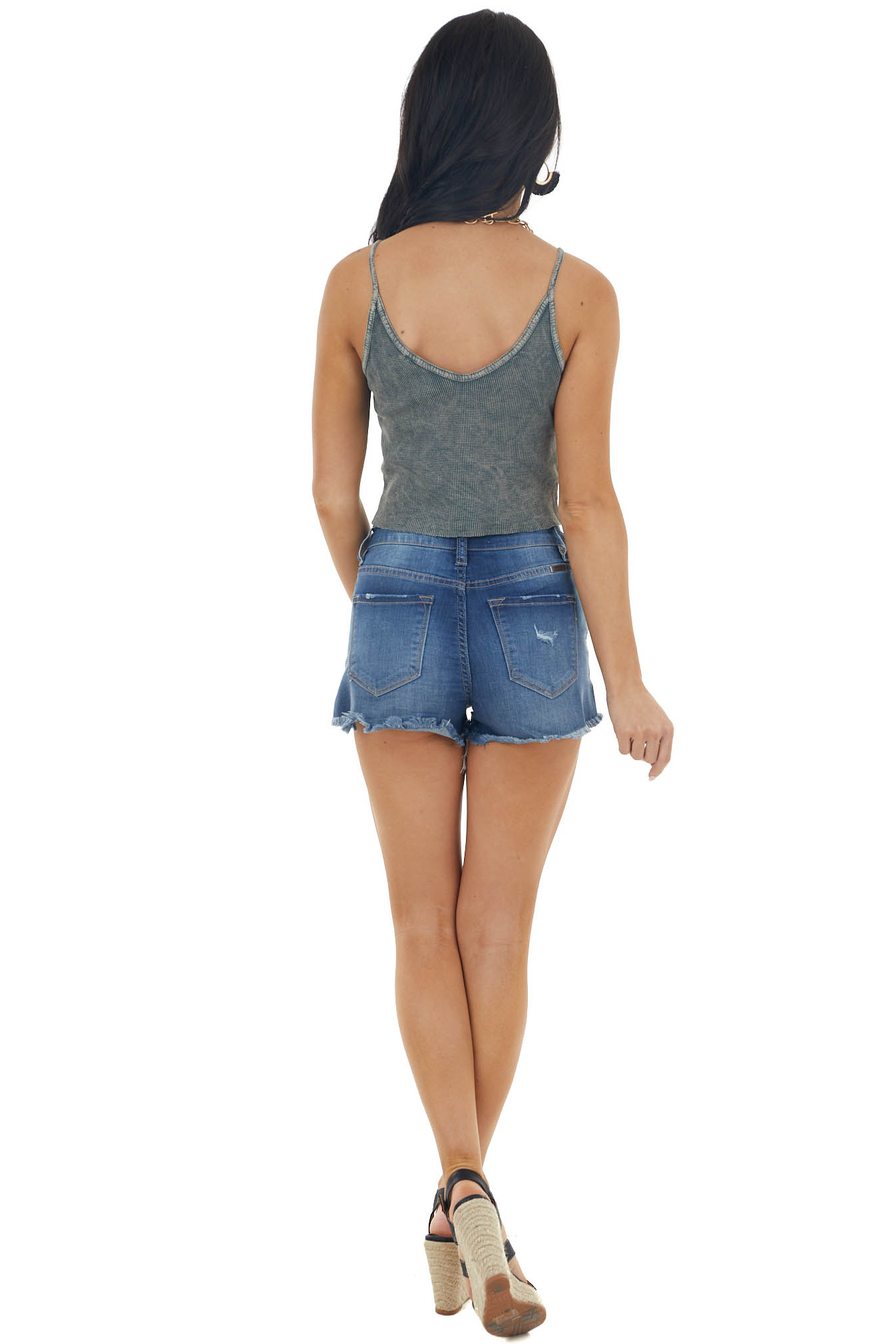 Graphite Grey Mineral Wash Sleeveless Waffle Knit Crop Top