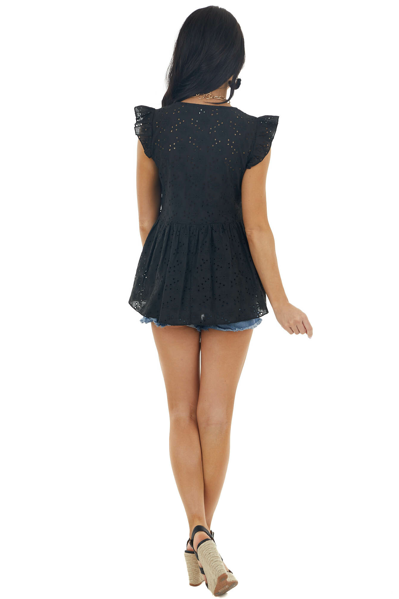Black Eyelet Lace Babydoll Blouse with Flutter Cap Sleeves