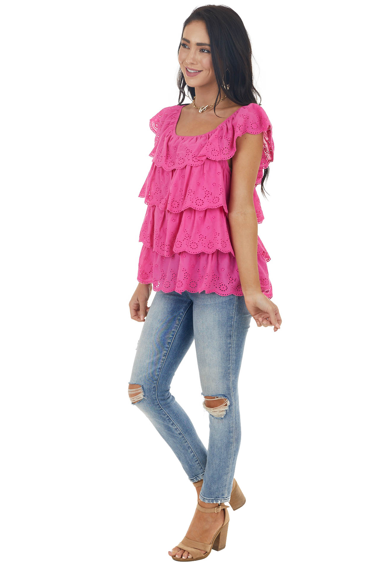 Magenta Tiered Ruffle Eyelet Lace Off the Shoulder Blouse