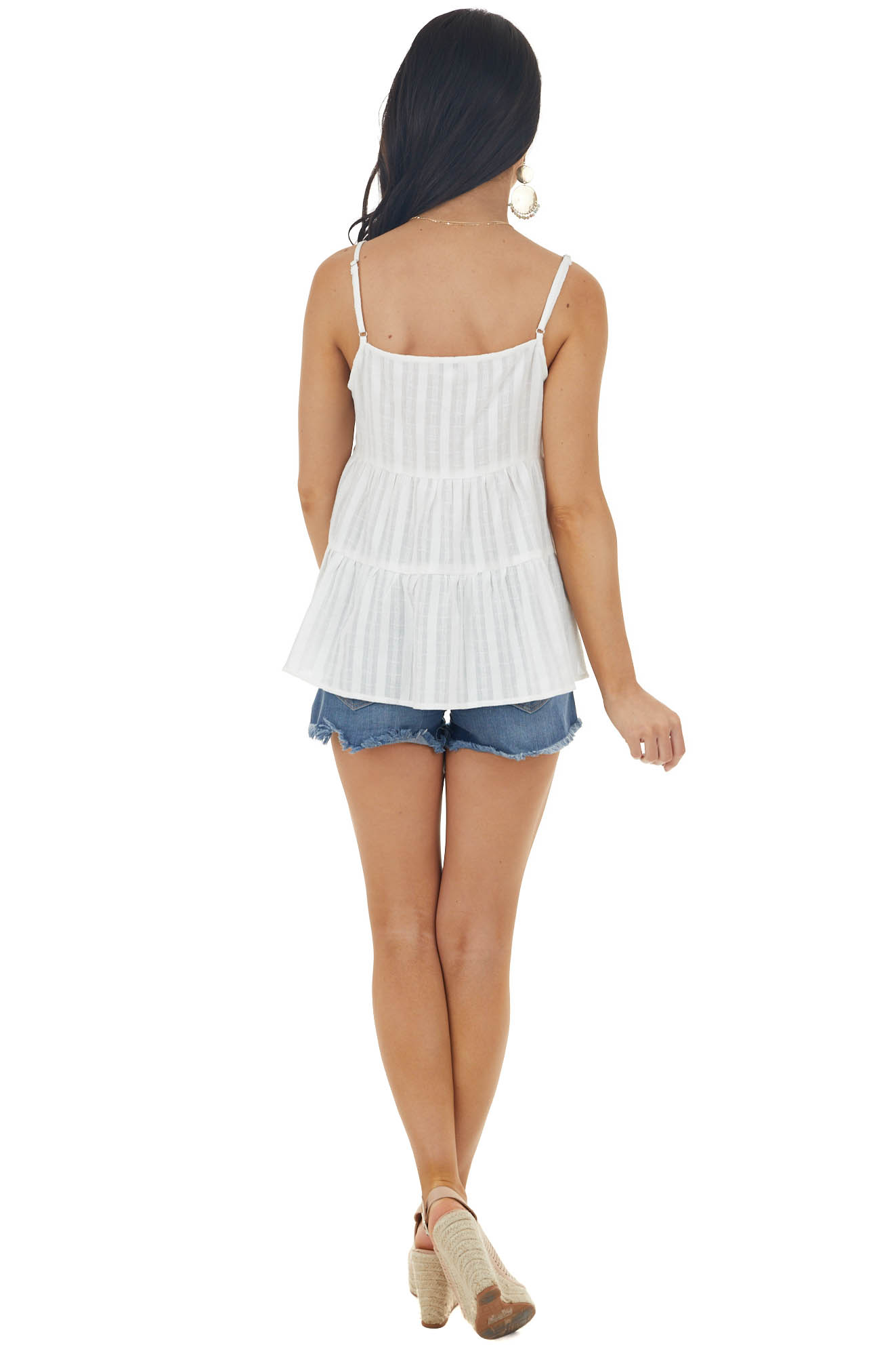 Off White Textured Tiered Woven Cami with Button Details
