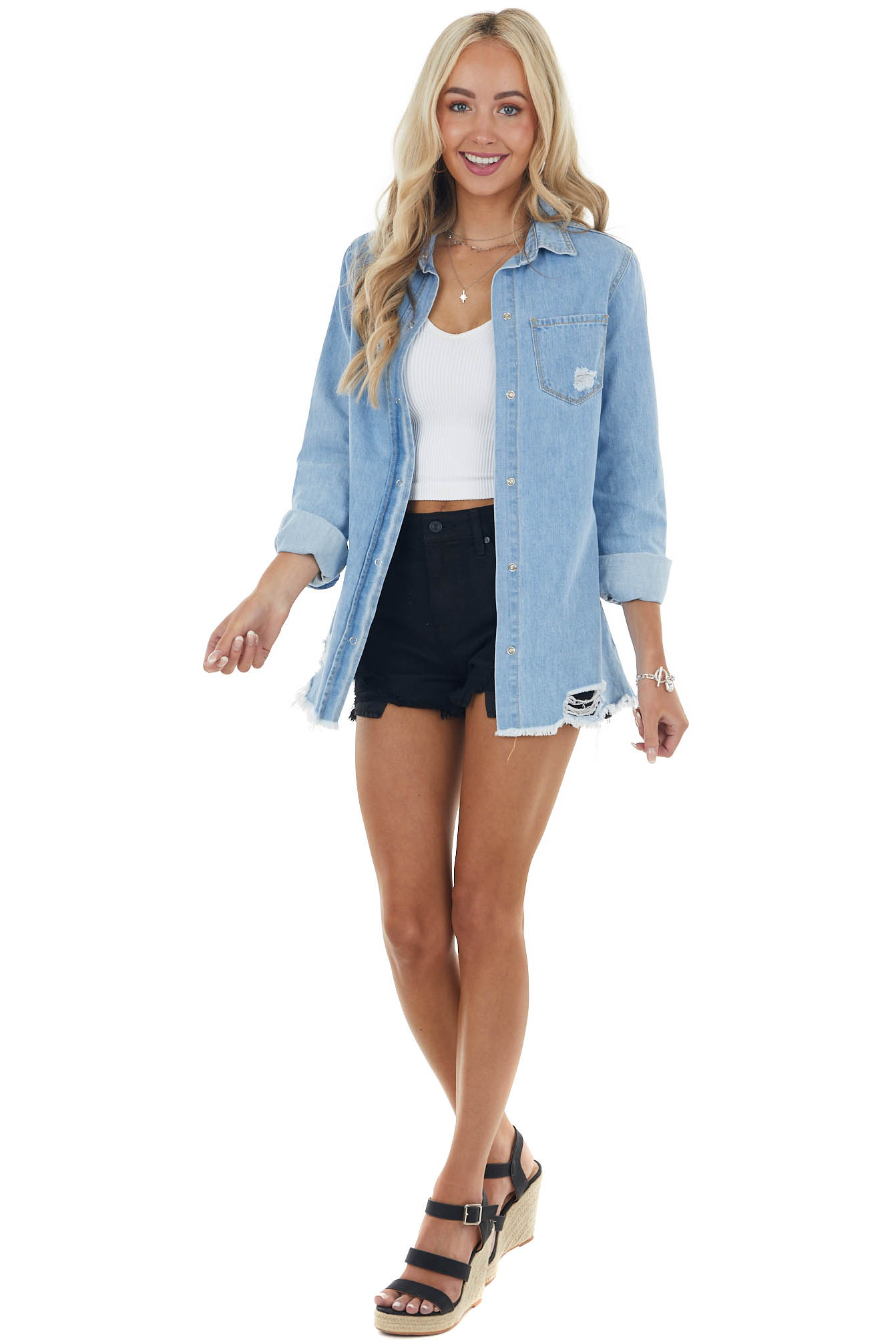 Light Wash Chambray Long Sleeve Top with Light Distressing