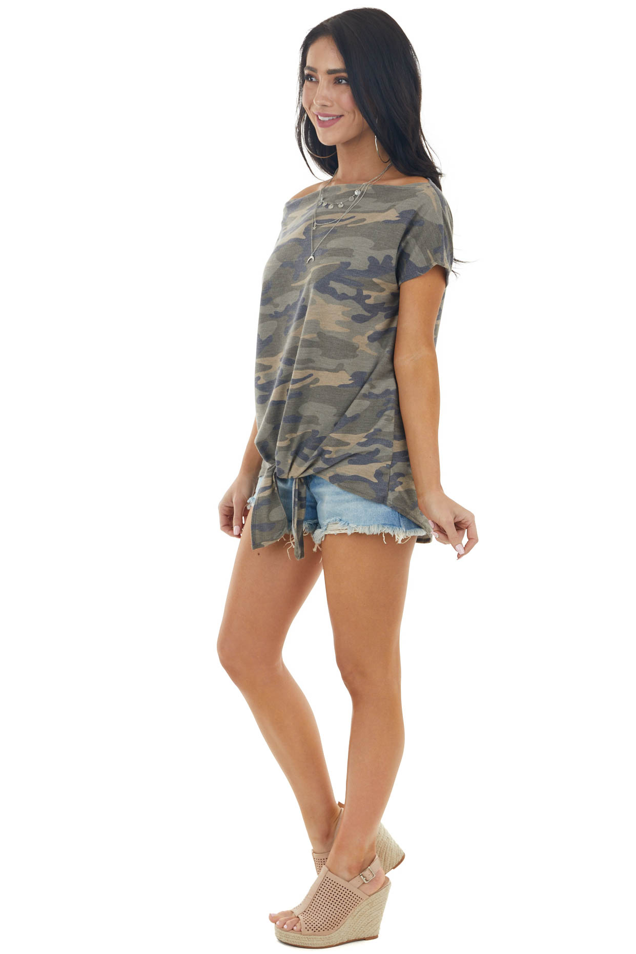 Army Green Camo Print Ribbed Knit Top with Front Tie