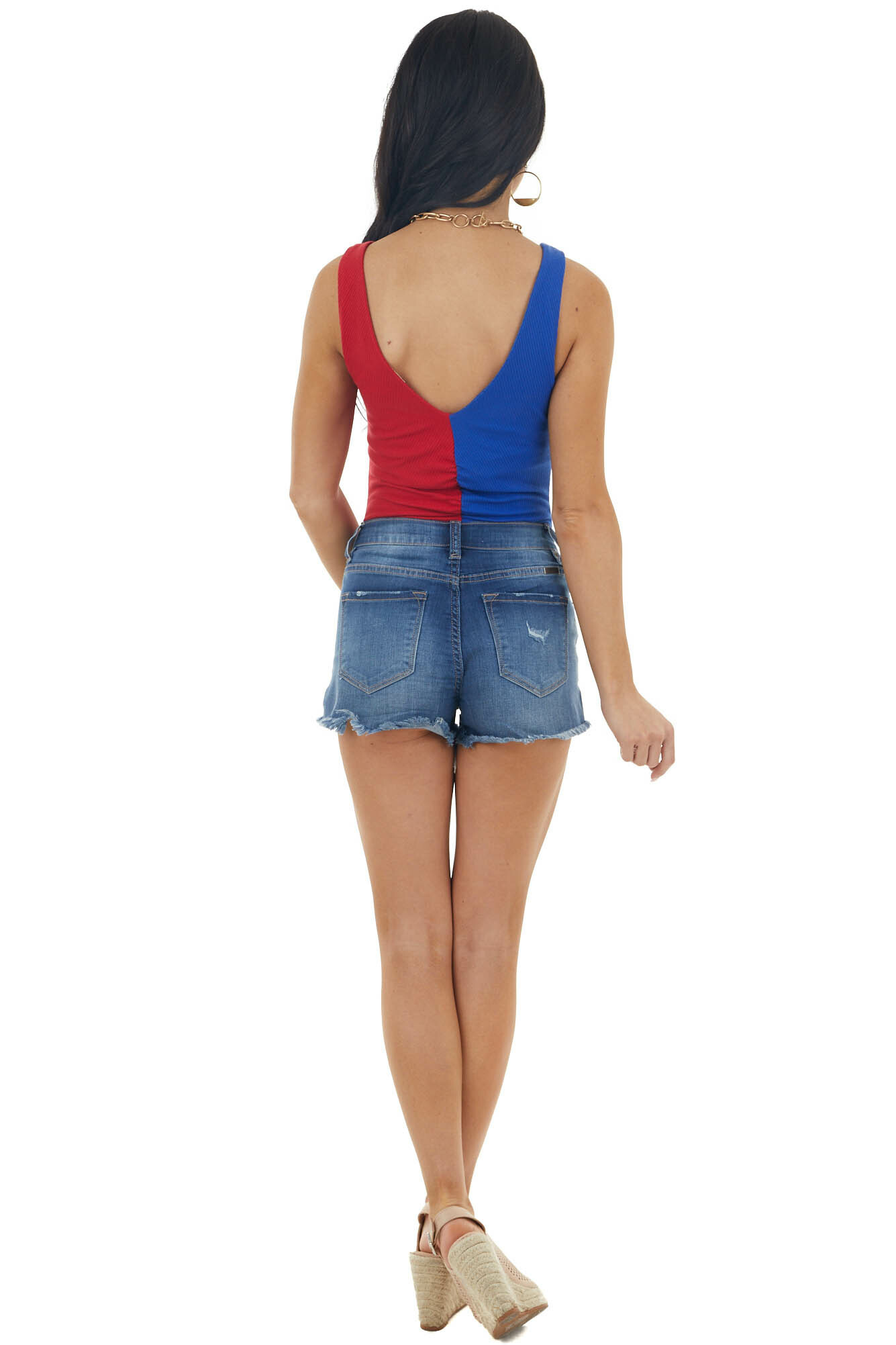 Royal Blue and Ruby Sleeveless Bodysuit with Ruching Details