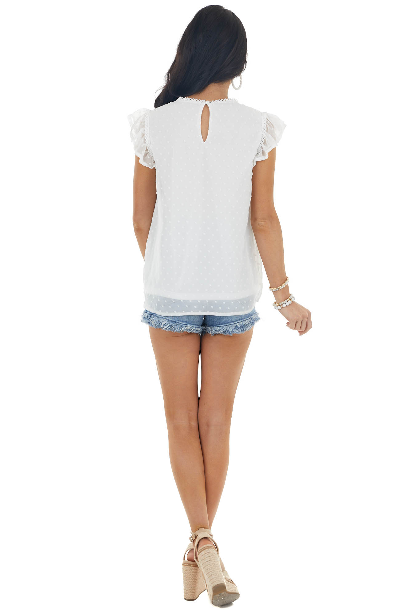 Ivory Swiss Dot Short Ruffle Sleeve Top with Trim Details