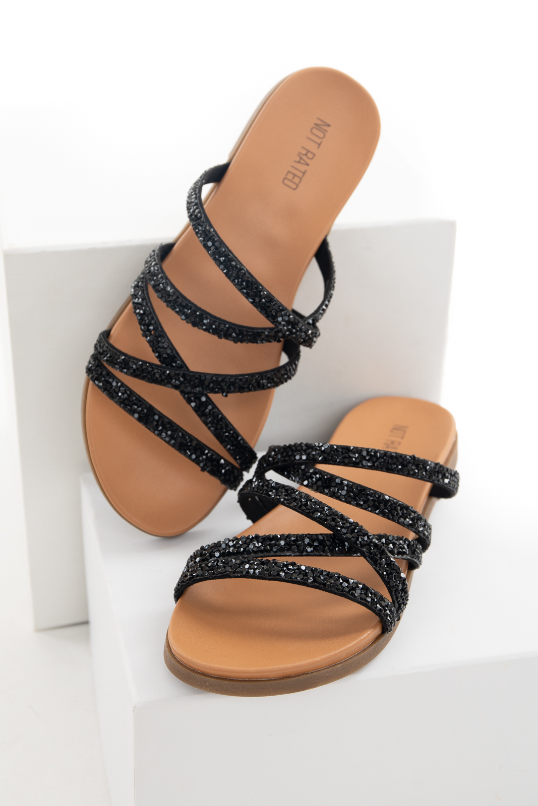 Black Strappy Slip On Flat Sandal with Rhinestone Details