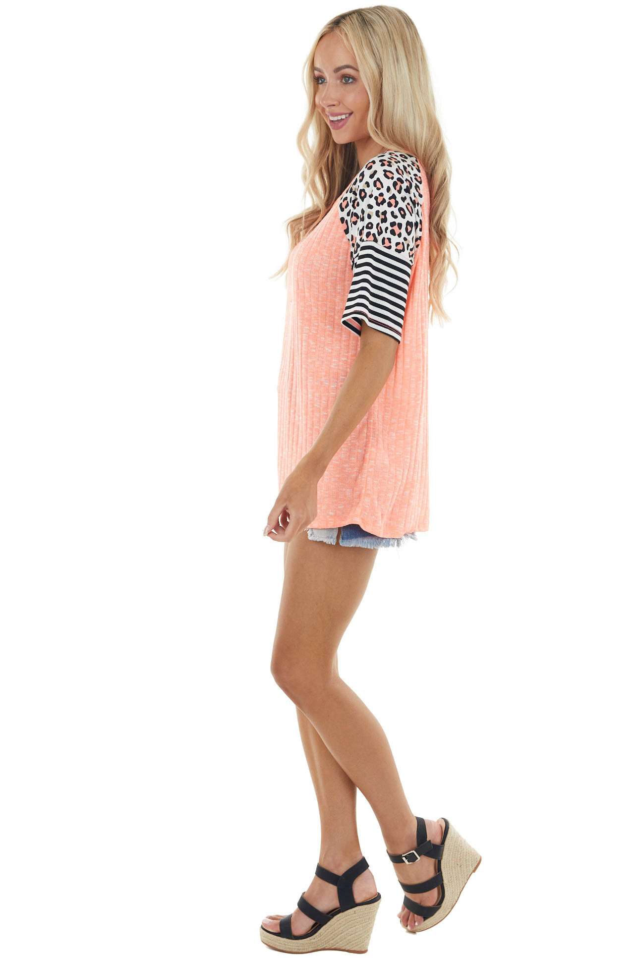 Heathered Neon Coral Knit Top with Multiprint Short Sleeves