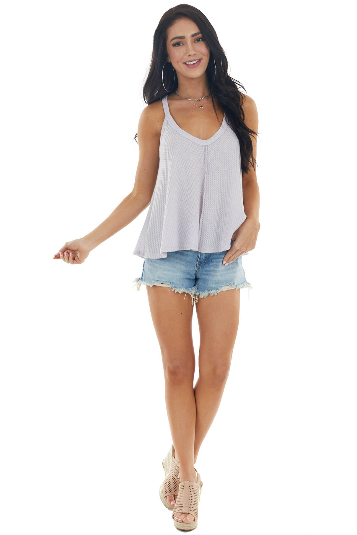 Pastel Lavender Waffle Knit Tank Top with Out Seam Details