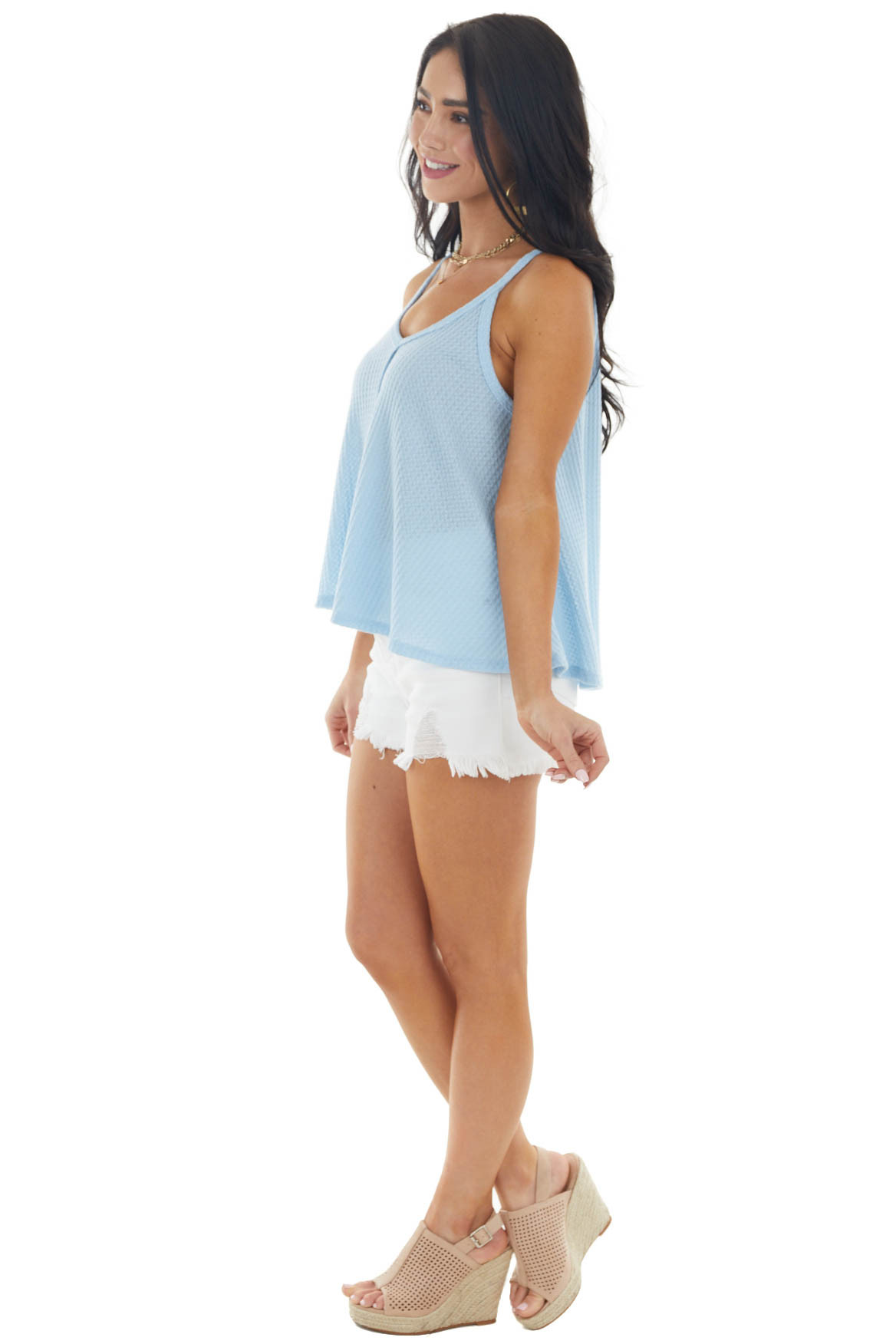 Baby Blue Waffle Knit Tank Top with Out Seam Details