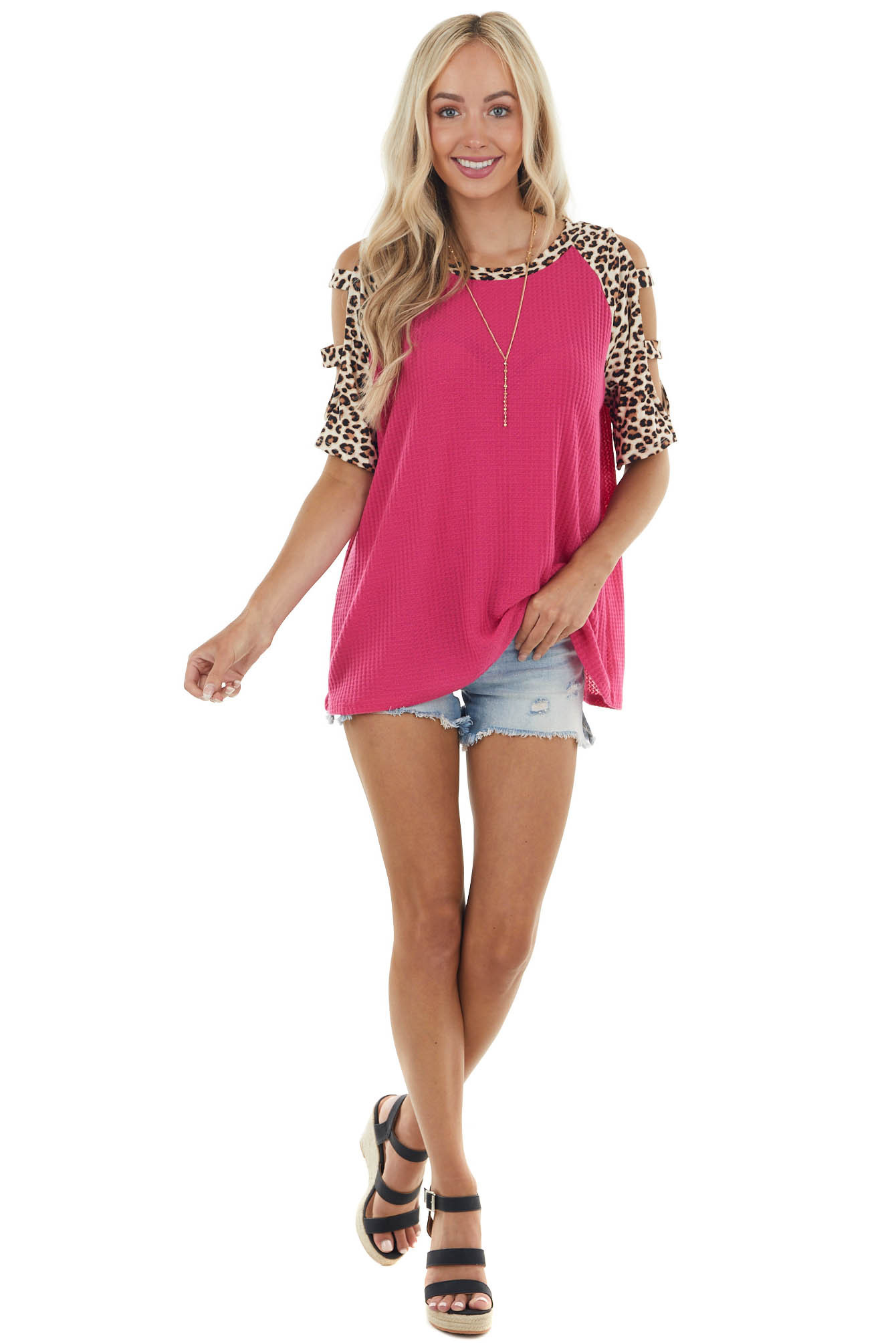 Raspberry Leopard Print Waffle Knit Top with Cut Out Details