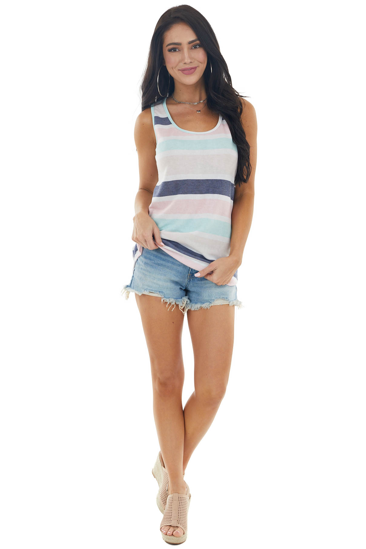 Pastel Multicolor Striped Sleeveless Knit Tank Top