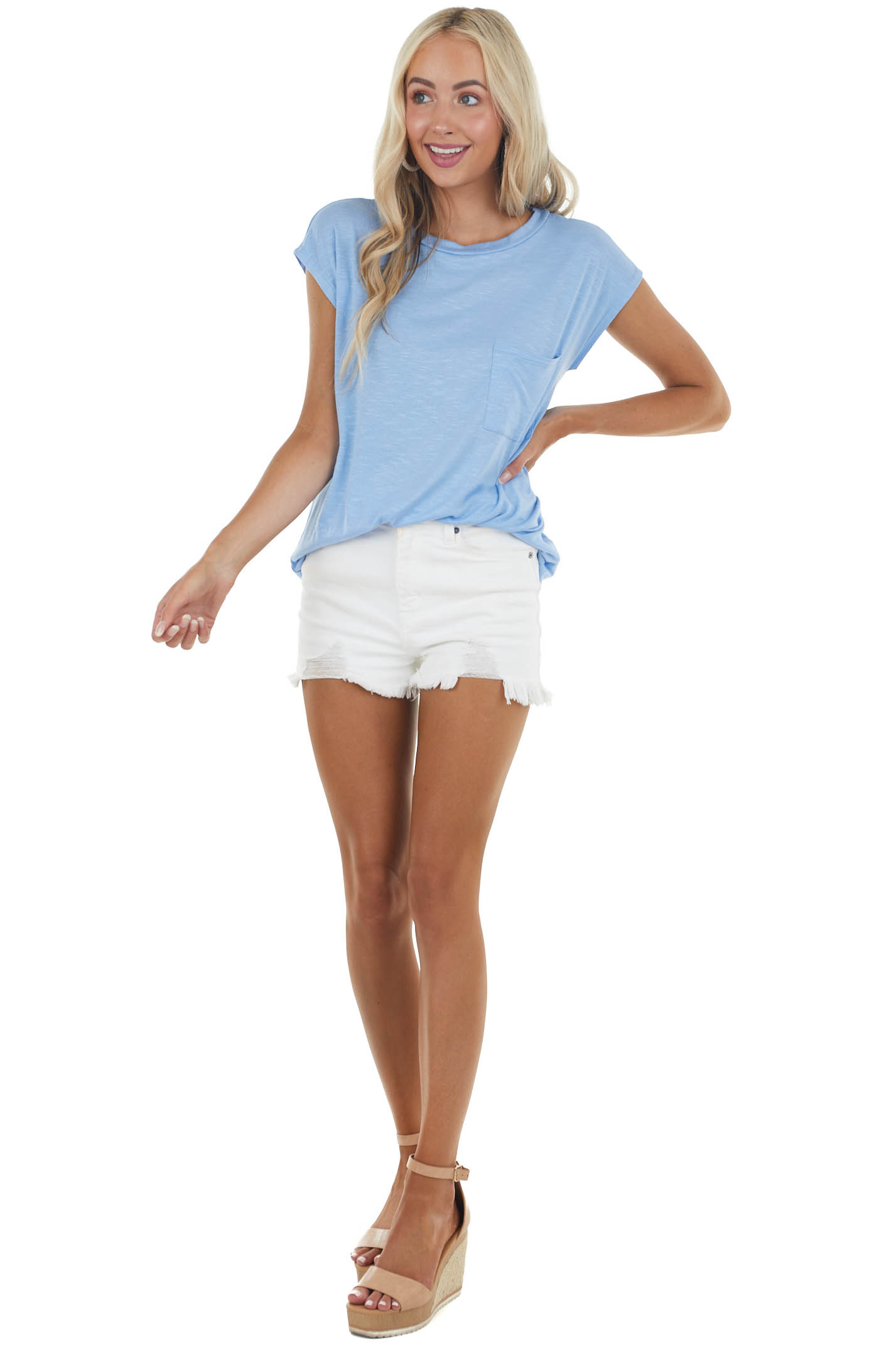 Powder Blue Short Sleeve Textured Knit Top with Front Pocket