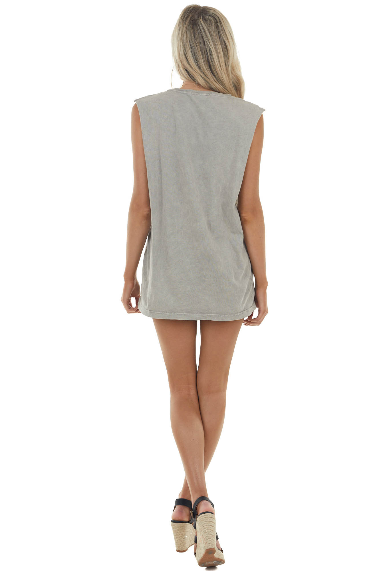 Ash Grey Mineral Wash Raw Muscle Knit Tee with Ribbed Neck