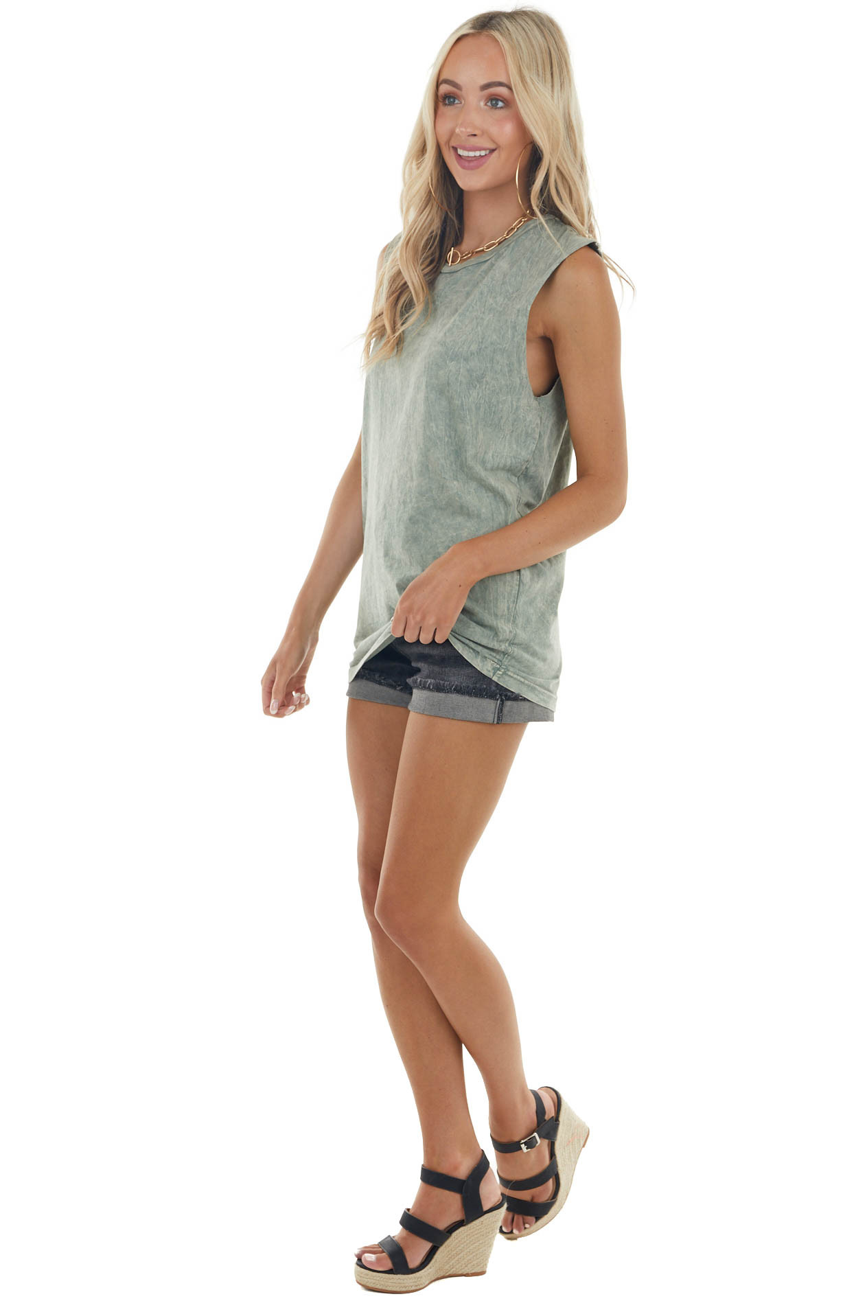 Sage Mineral Wash Raw Muscle Knit Tee with Ribbed Neck