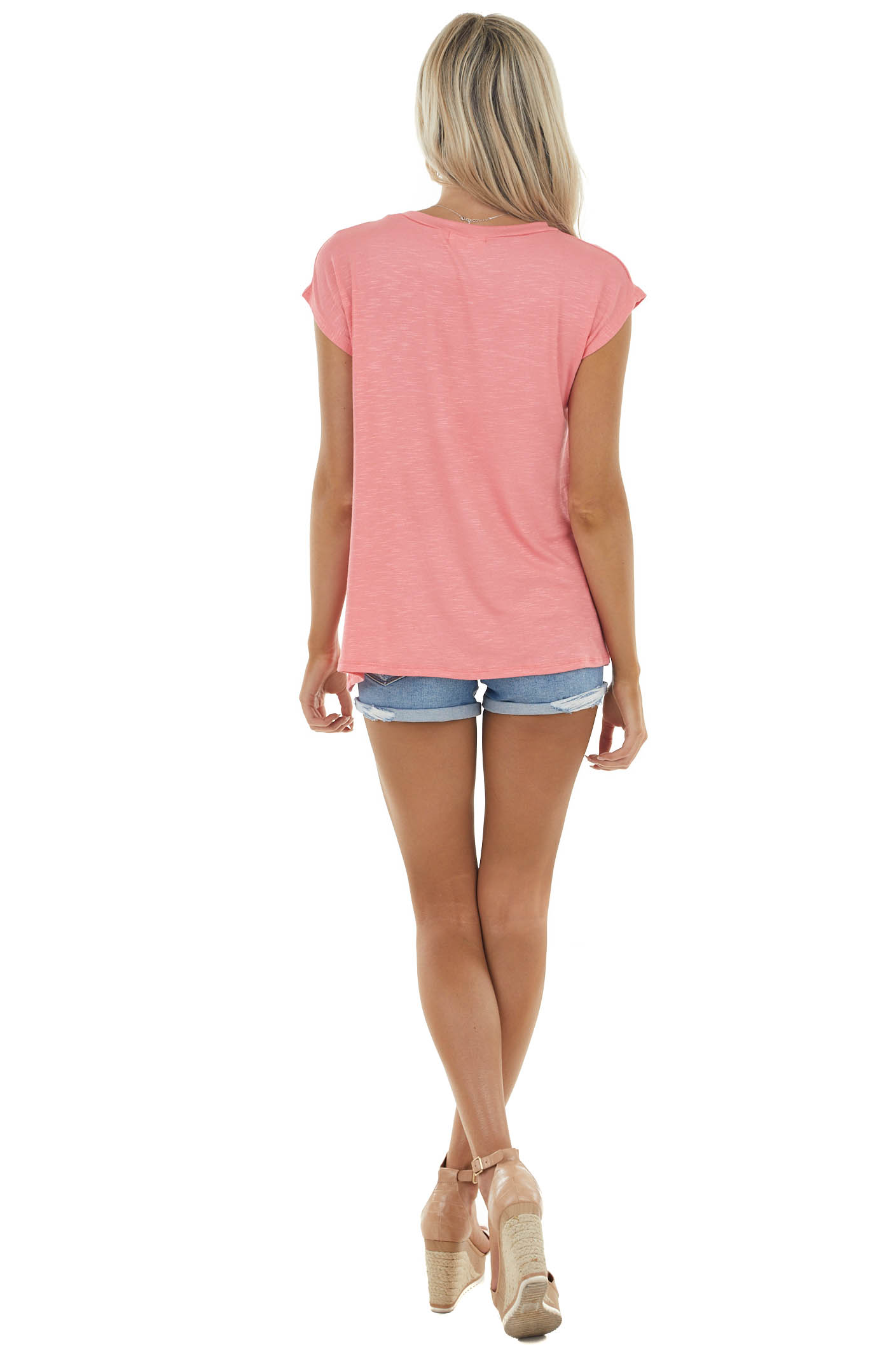 Watermelon Short Sleeve Textured Knit Top with Front Pocket