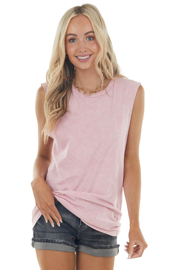 Bubblegum Mineral Wash Raw Muscle Knit Tee with Ribbed Neck