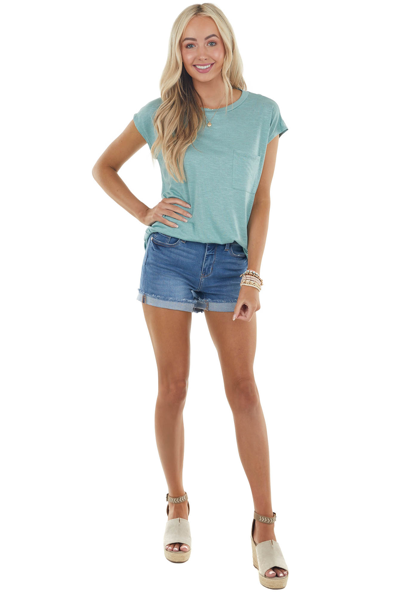 Juniper Short Sleeve Textured Knit Top with Front Pocket