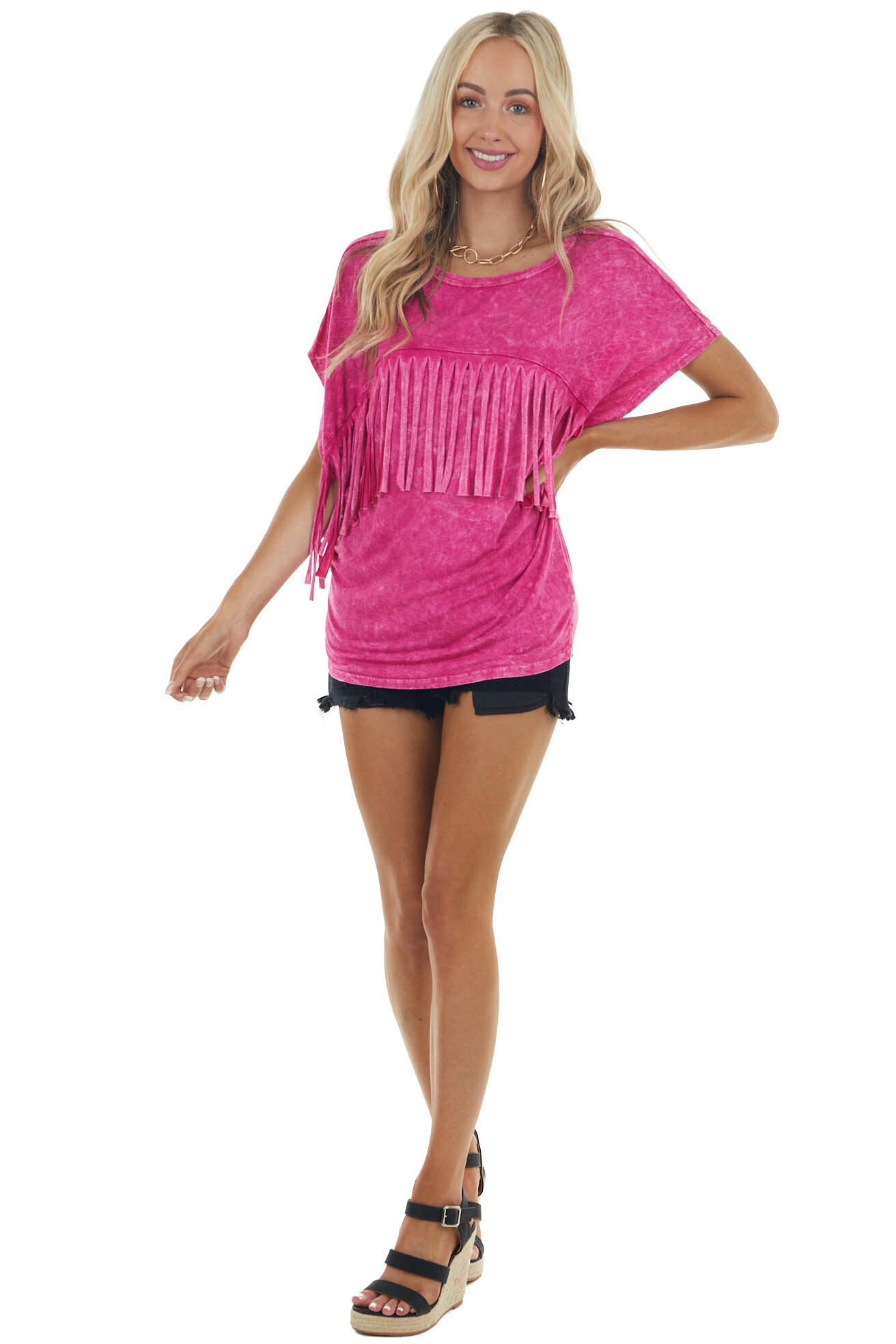 Deep Magenta Mineral Wash Knit Top with Fringe Details