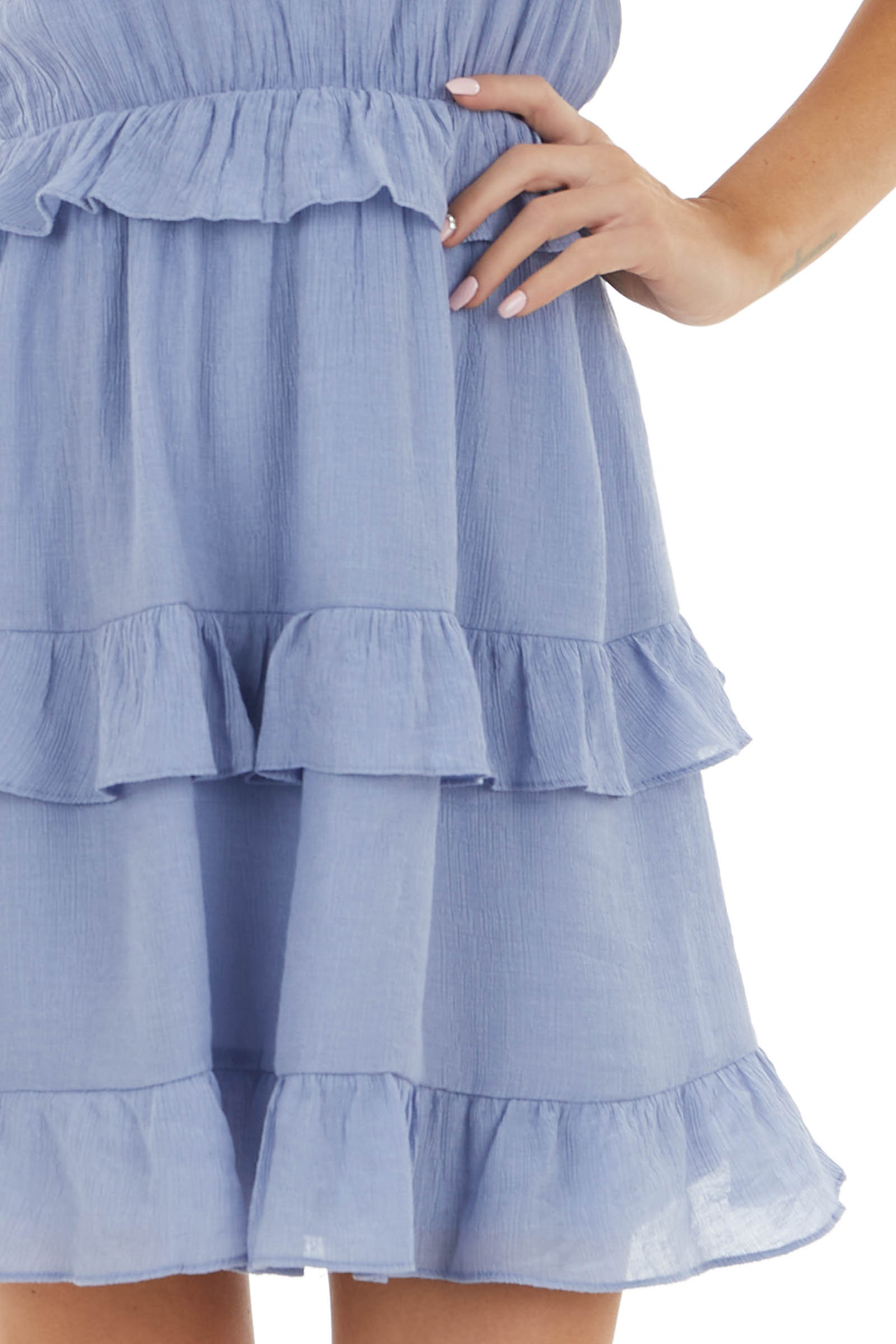 Periwinkle Crinkle Woven Ruffle Dress with Halter Neckline