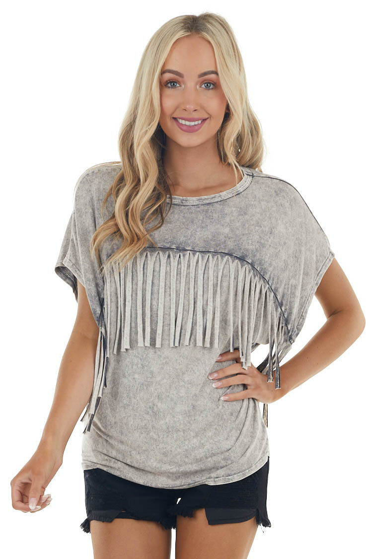 Heather Grey Mineral Wash Knit Top with Fringe Details