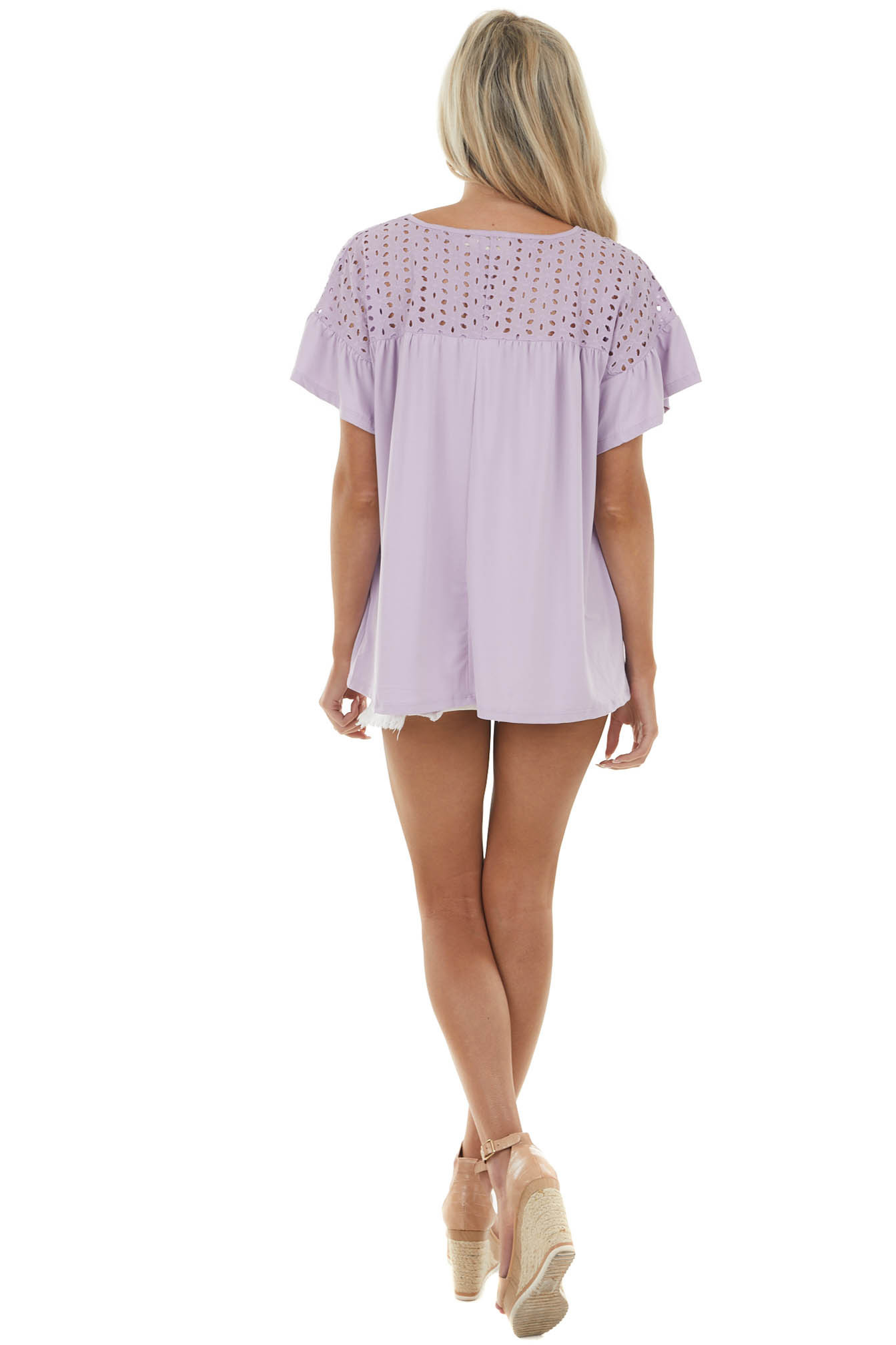 Pastel Lavender Babydoll Knit Top with Eyelet Lace Detail