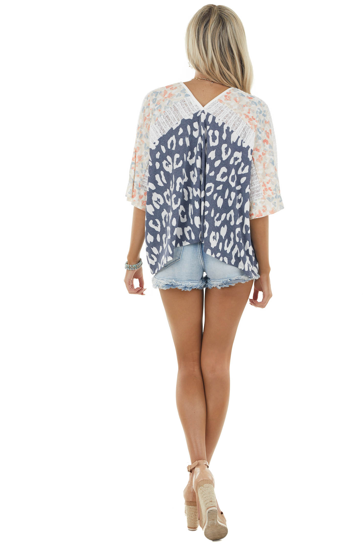 Navy Multicolored Leopard Oversized Loose Knit Contrast Top