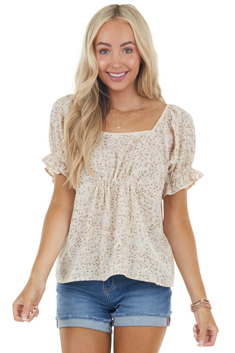 Nude Ditsy Floral Babydoll Short Sleeve Square Neck Top