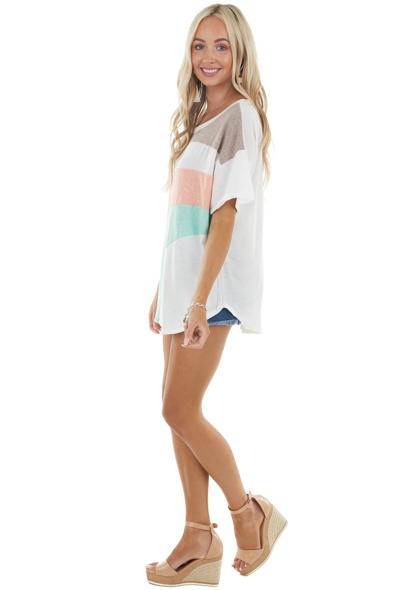 Ivory Color Block Oversized Short Sleeve Knit Top