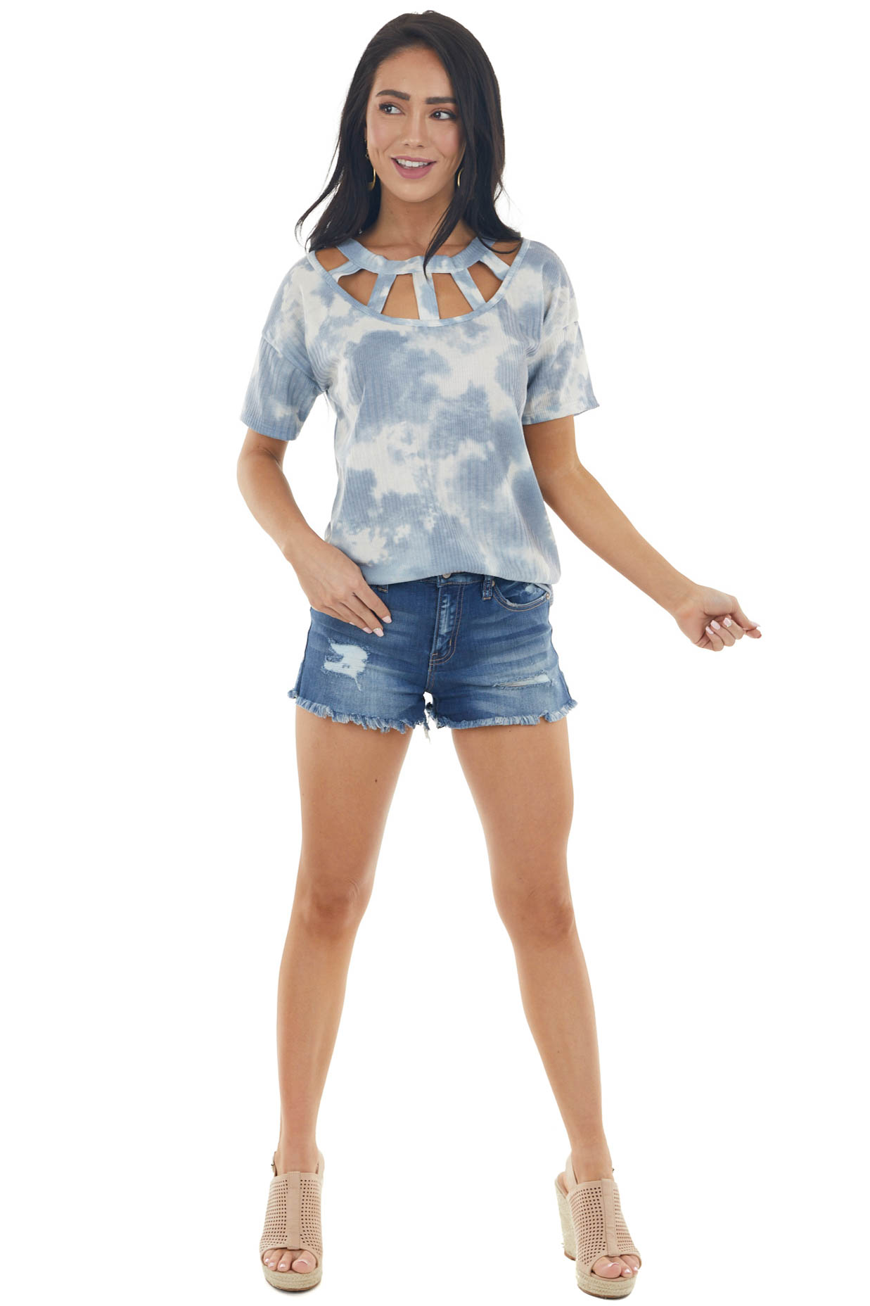 Dusty Blue Tie Dye Short Sleeve Knit Top with Caged Neckline