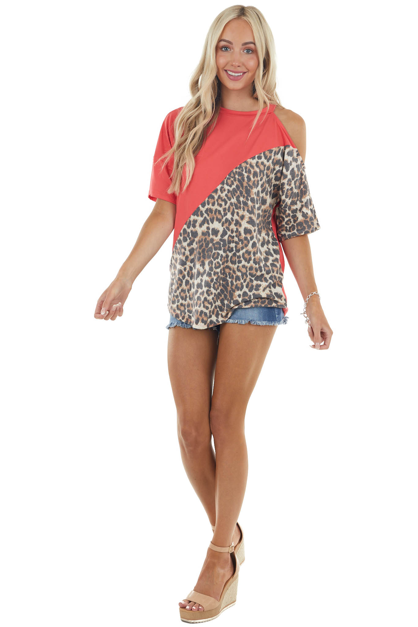 Deep Coral and Leopard Print Cold Shoulder Soft Knit Tee